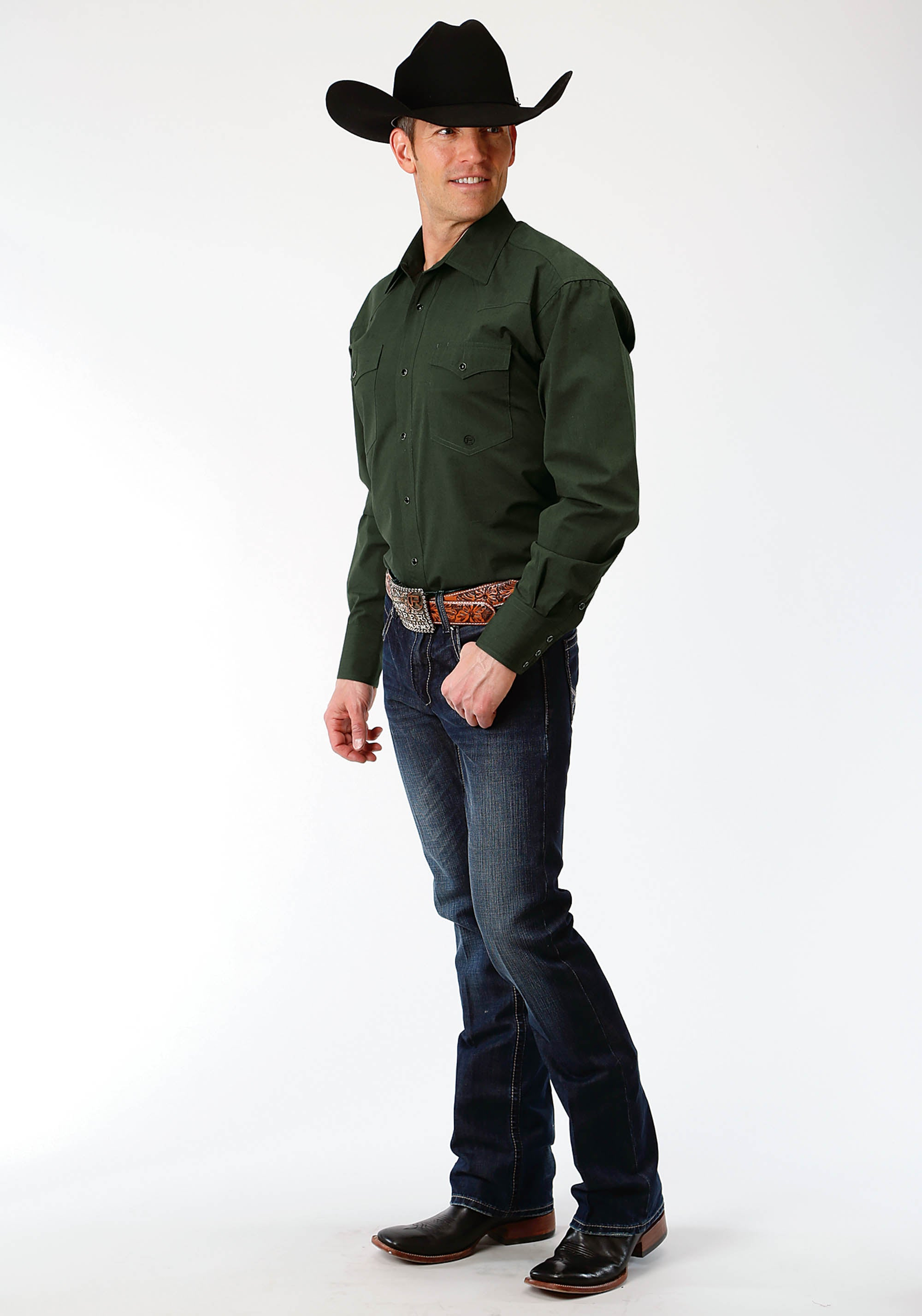 ROPER MENS GREEN 1413 BLACK FILL OLIVE MEN'S AMARILLO COLLECTION- MEADOW LONG SLEEVE