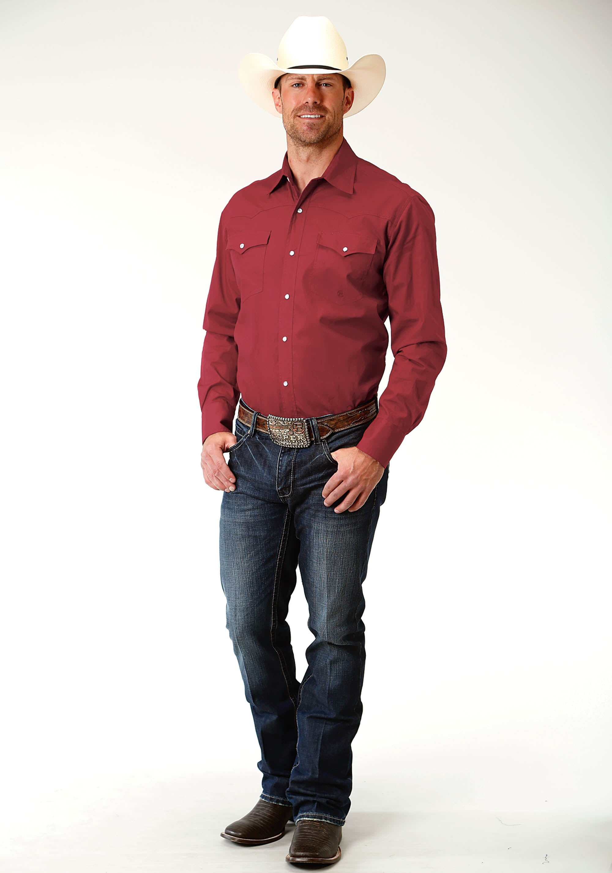 ROPER MENS RED 2455 SOLID POPLIN - RED MEN'S AMARILLO COLLECTION- RED MARBLE LONG SLEEVE