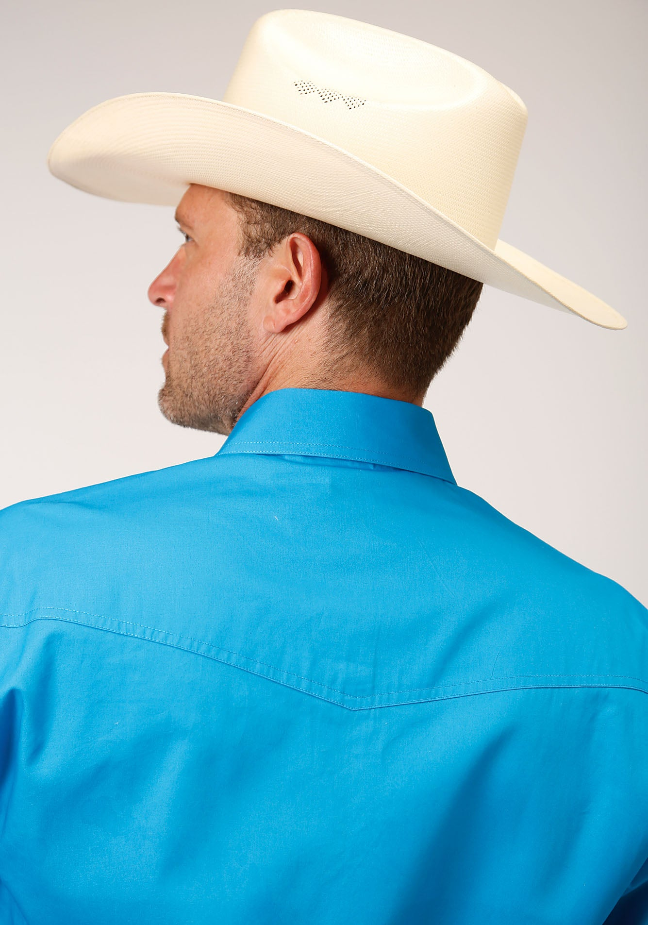 ROPER MENS BLUE 00068 SOLID POPLIN - TURQUOISE MEN'S AMARILLO COLLECTION- OASIS LONG SLEEVE