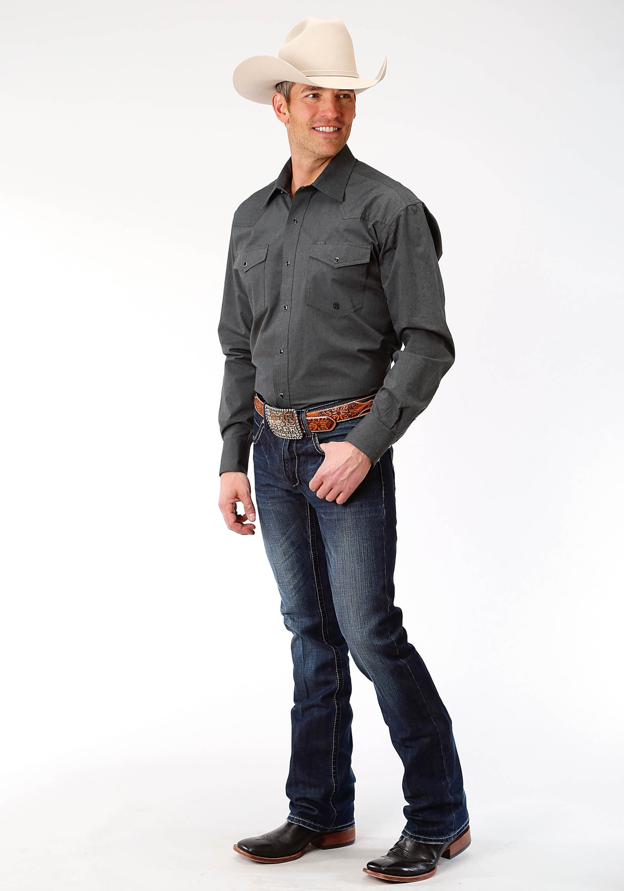 ROPER MENS GREY 9723 SOLID GRAY BLACK FILL MEN'S AMARILLO COLLECTION- CHARCOAL EMBERS LONG SLEEVE