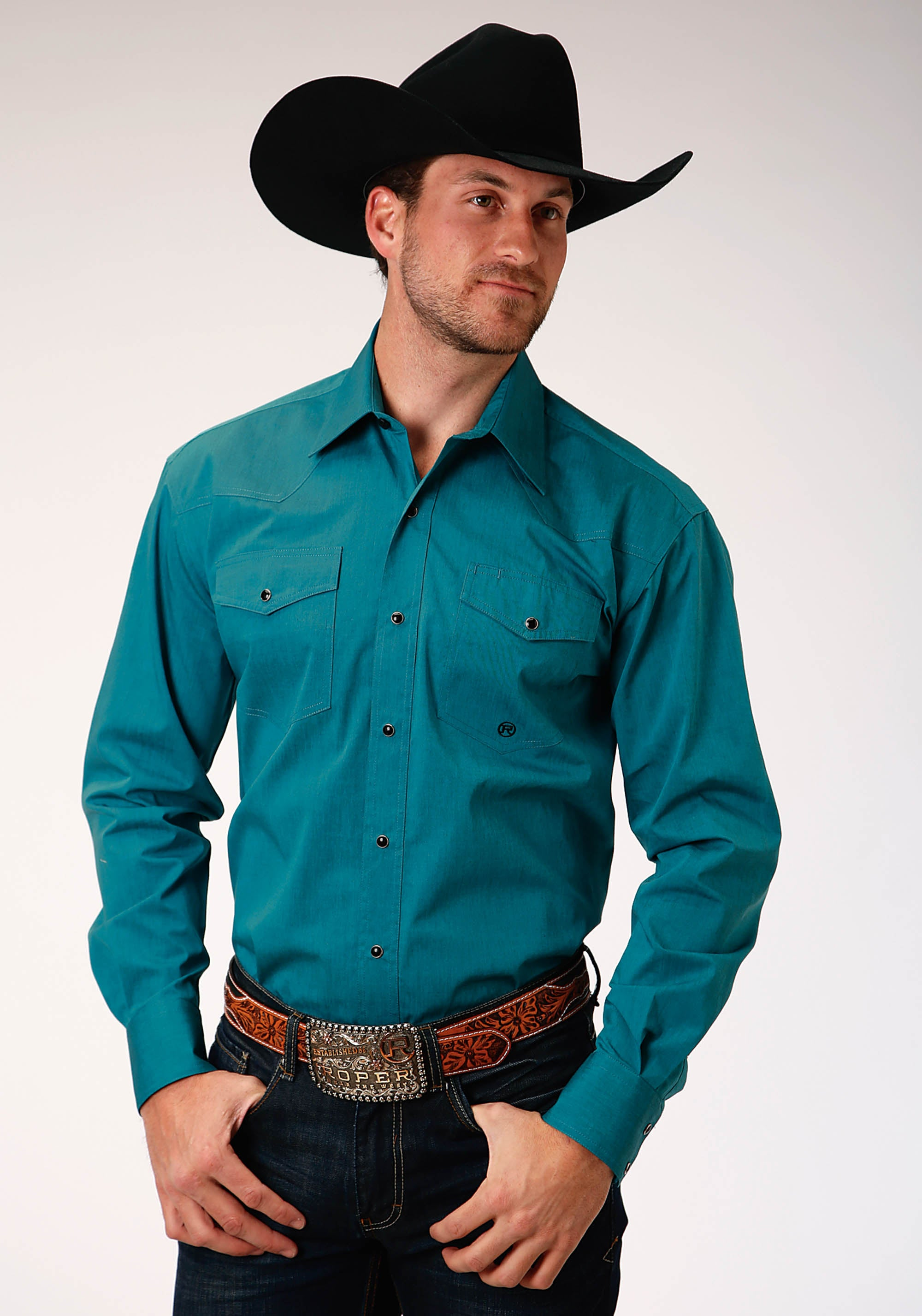 ROPER MENS GREEN 00277 TEAL W/BLACK FILL MEN'S AMARILLO COLLECTION- COOL PINES LONG SLEEVE
