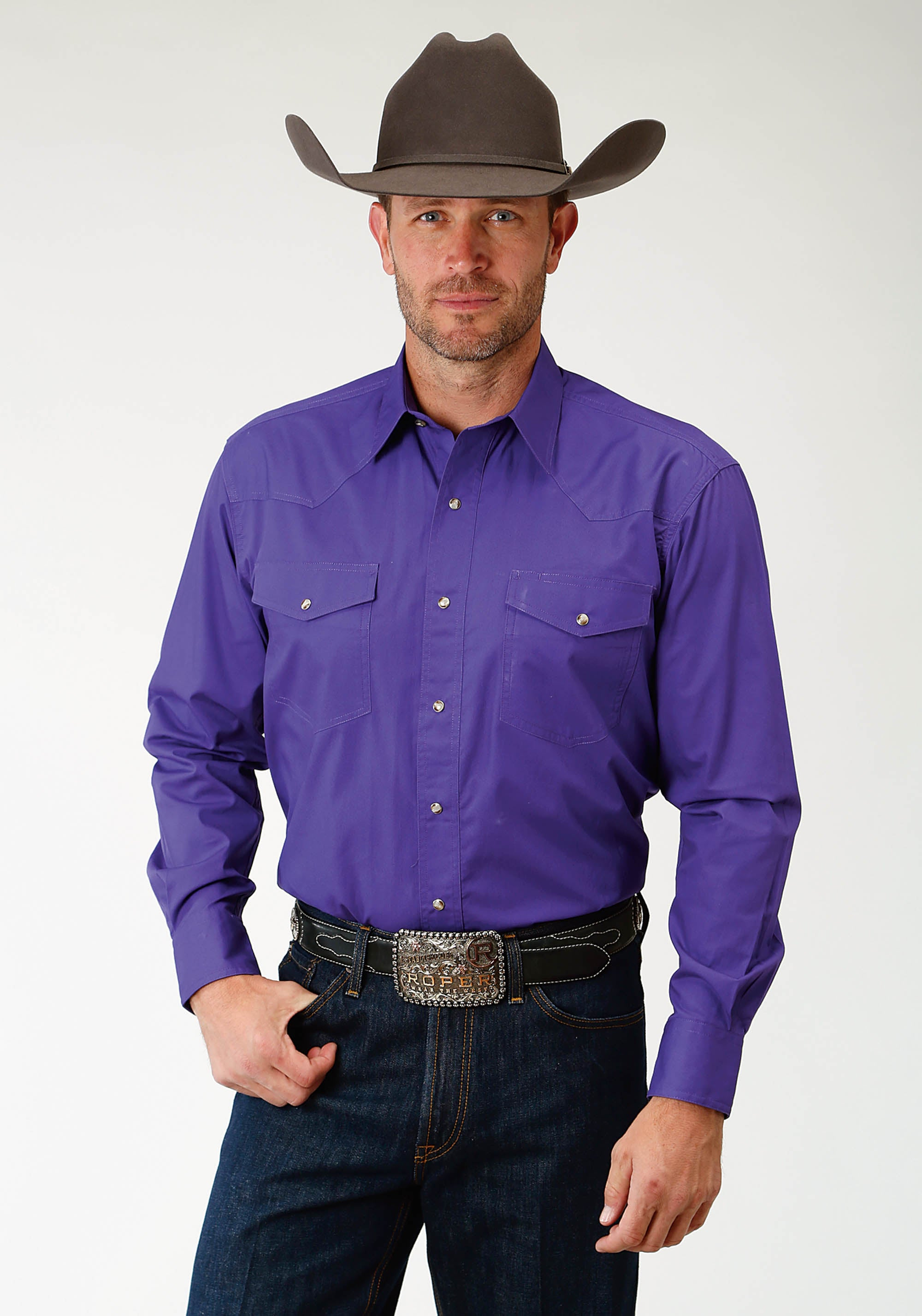 ROPER MENS PURPLE SOLID POPLIN 1PT BACK YOKE VERGTD SNAP INSTOCK SOLID POPLIN LONG SLEEVE SHIRT