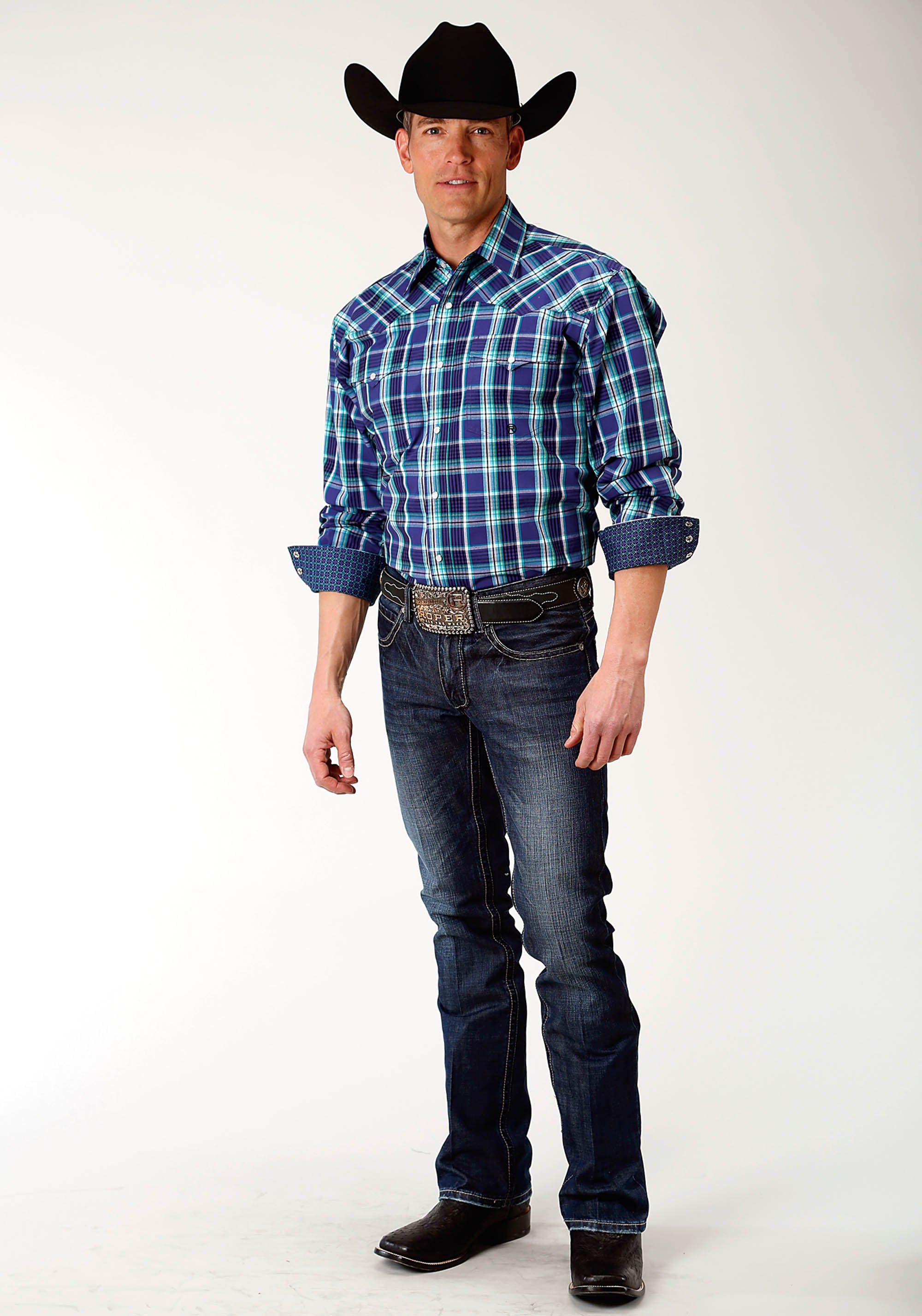 ROPER MENS PURPLE 2230 COLD SPRING PLAID MEN'S AMARILLO COLLECTION- BLUE SPRUCE LONG SLEEVE