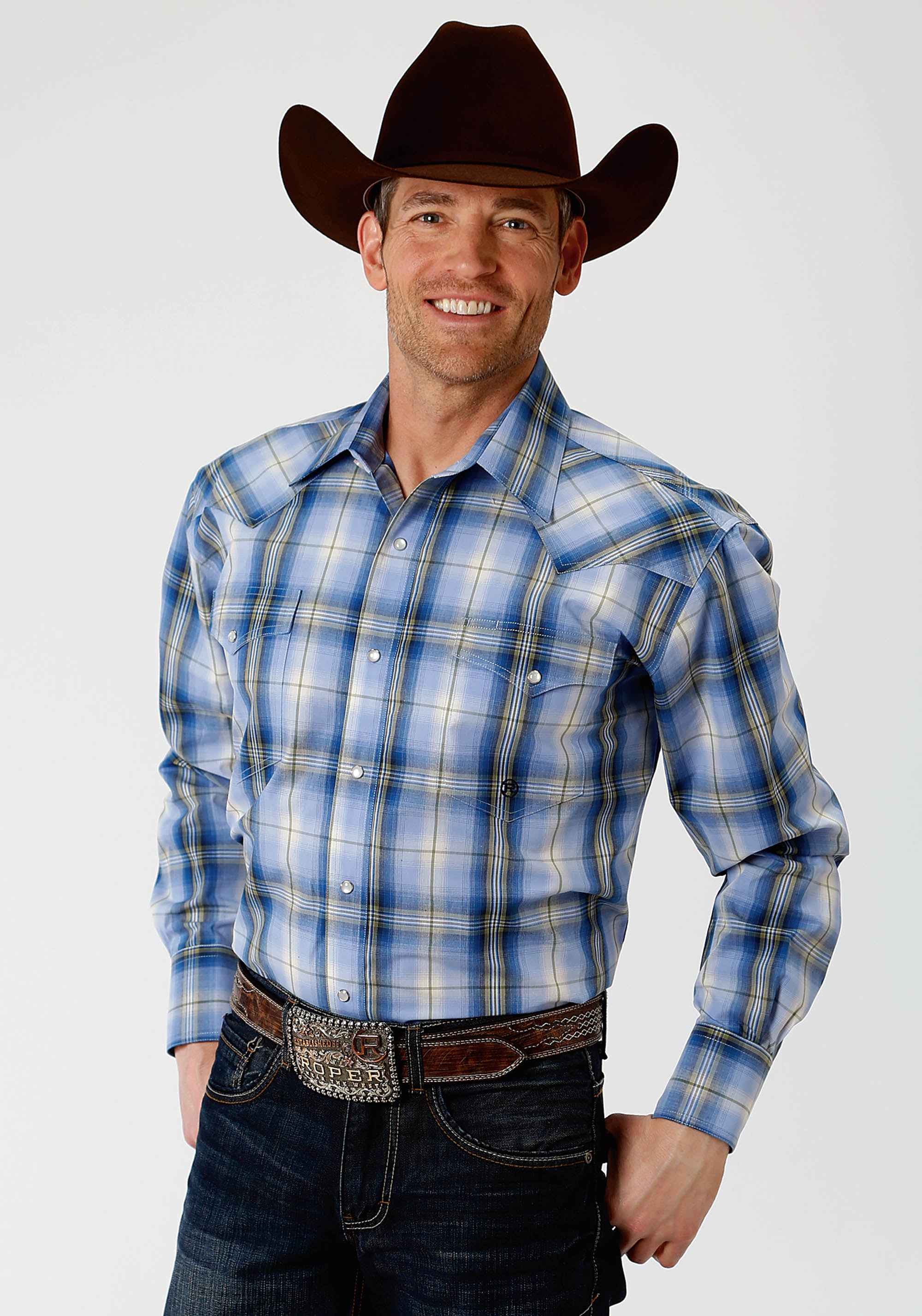ROPER MENS BLUE 1331 BLUE GRASS PLAID MEN'S AMARILLO COLLECTION- MEADOW LONG SLEEVE