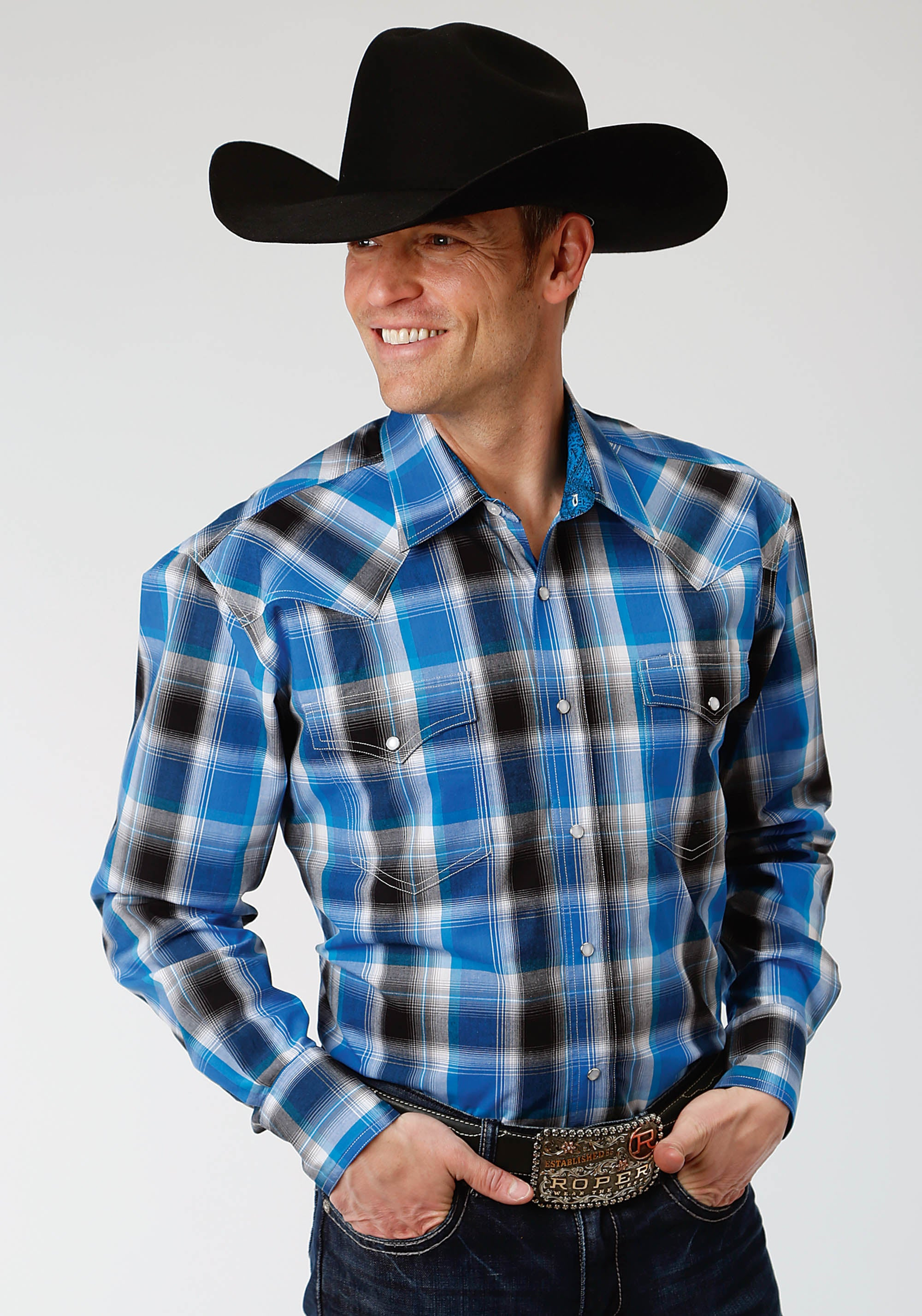 ROPER MENS BLUE 1353 BLUE STAR PLAID MEN'S AMARILLO COLLECTION- STARLIGHT LONG SLEEVE