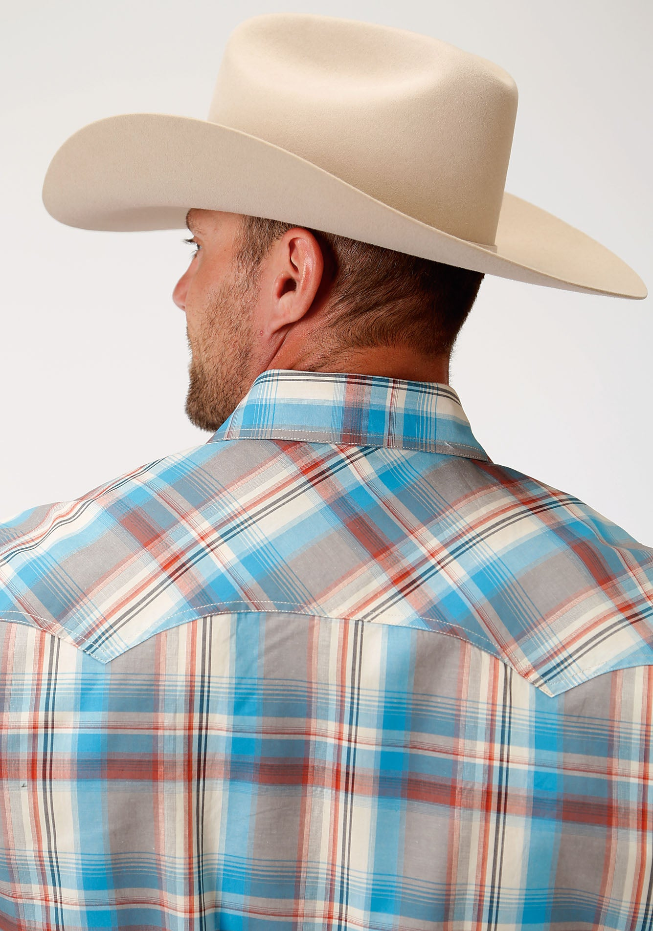 ROPER MENS TAN 00016 OASIS PLAID MEN'S AMARILLO COLLECTION- OASIS LONG SLEEVE