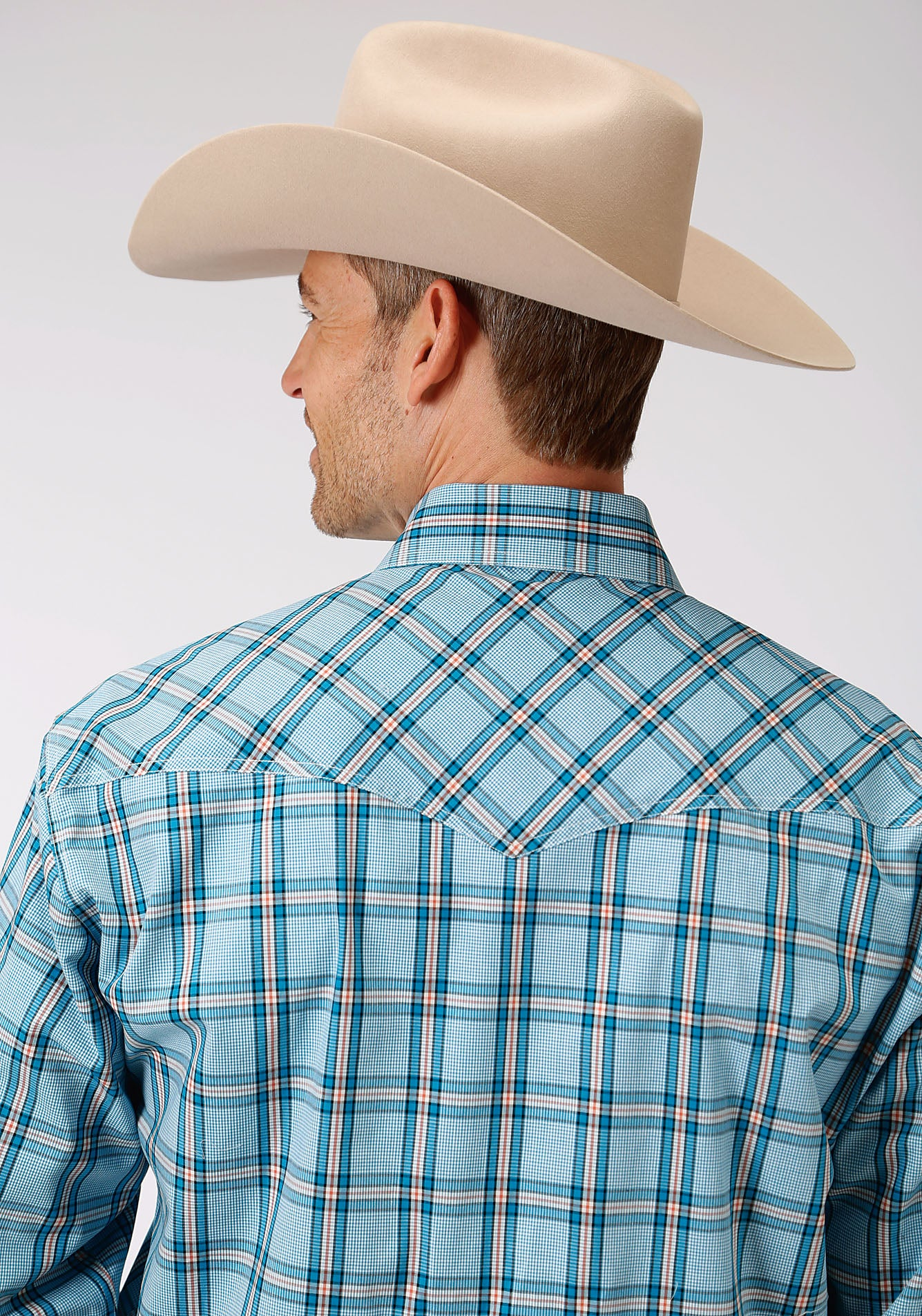 ROPER MENS BLUE 00017 COLD CREEK PLAID MEN'S AMARILLO COLLECTION- OASIS LONG SLEEVE