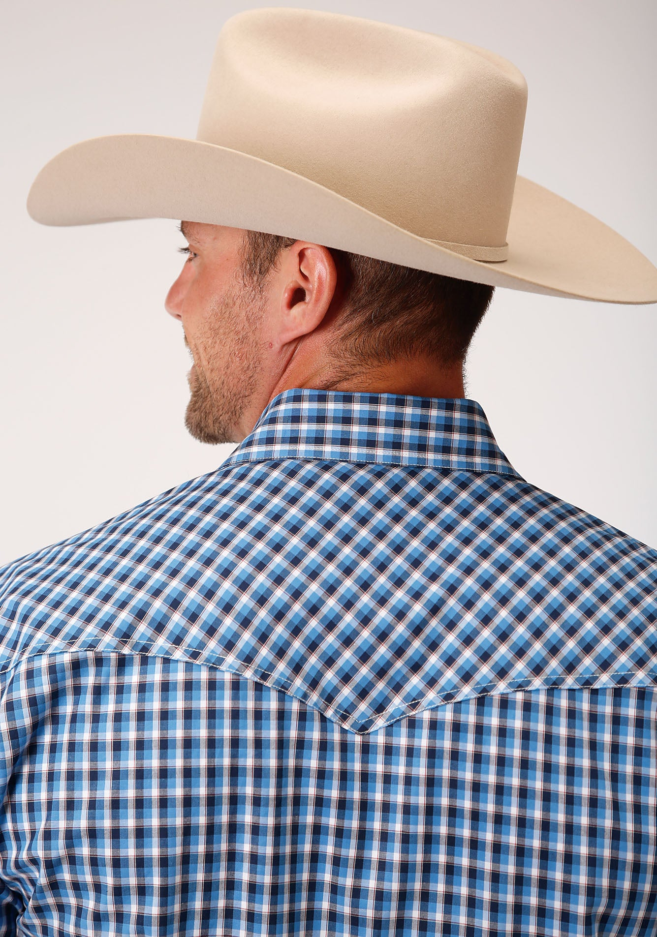 ROPER MENS BLUE 00021 AMERICANA CHECK MEN'S AMARILLO COLLECTION- HERITAGE LONG SLEEVE