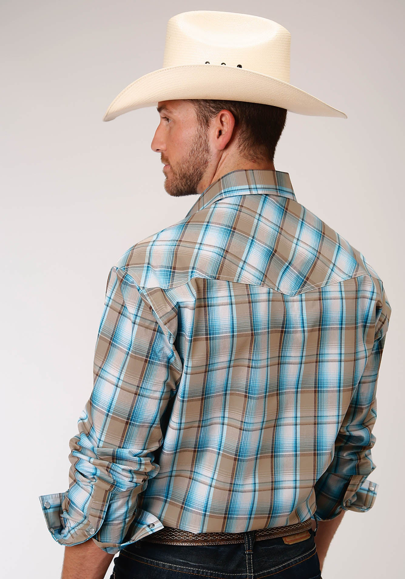 ROPER MENS BLUE 00162 SEASIDE PLAID MEN'S AMARILLO COLLECTION - DESERT SKY LONG SLEEVE
