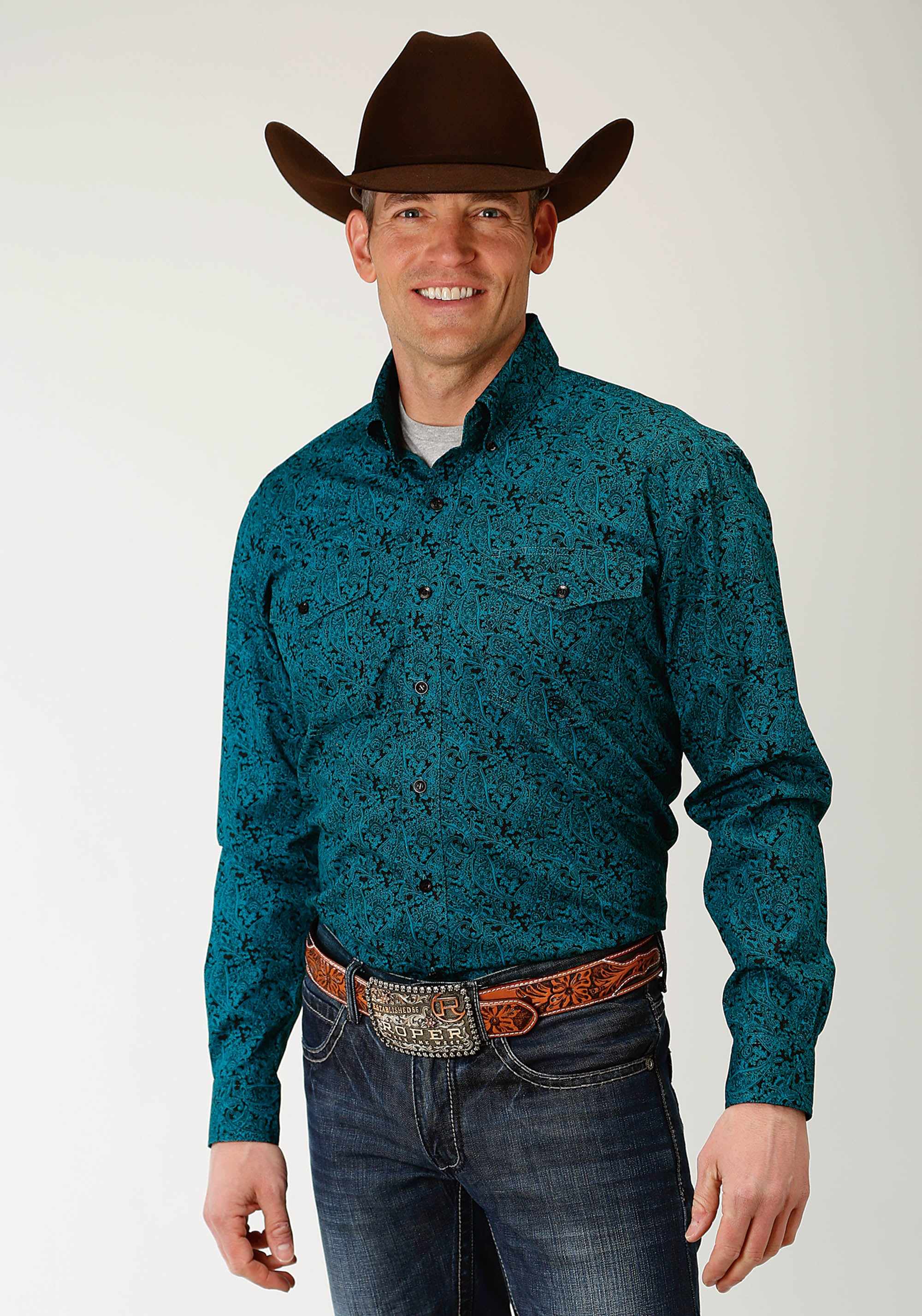 ROPER MENS BLUE 2241 BLUE SPRUCE PAISLEY MEN'S AMARILLO COLLECTION- BLUE SPRUCE LONG SLEEVE