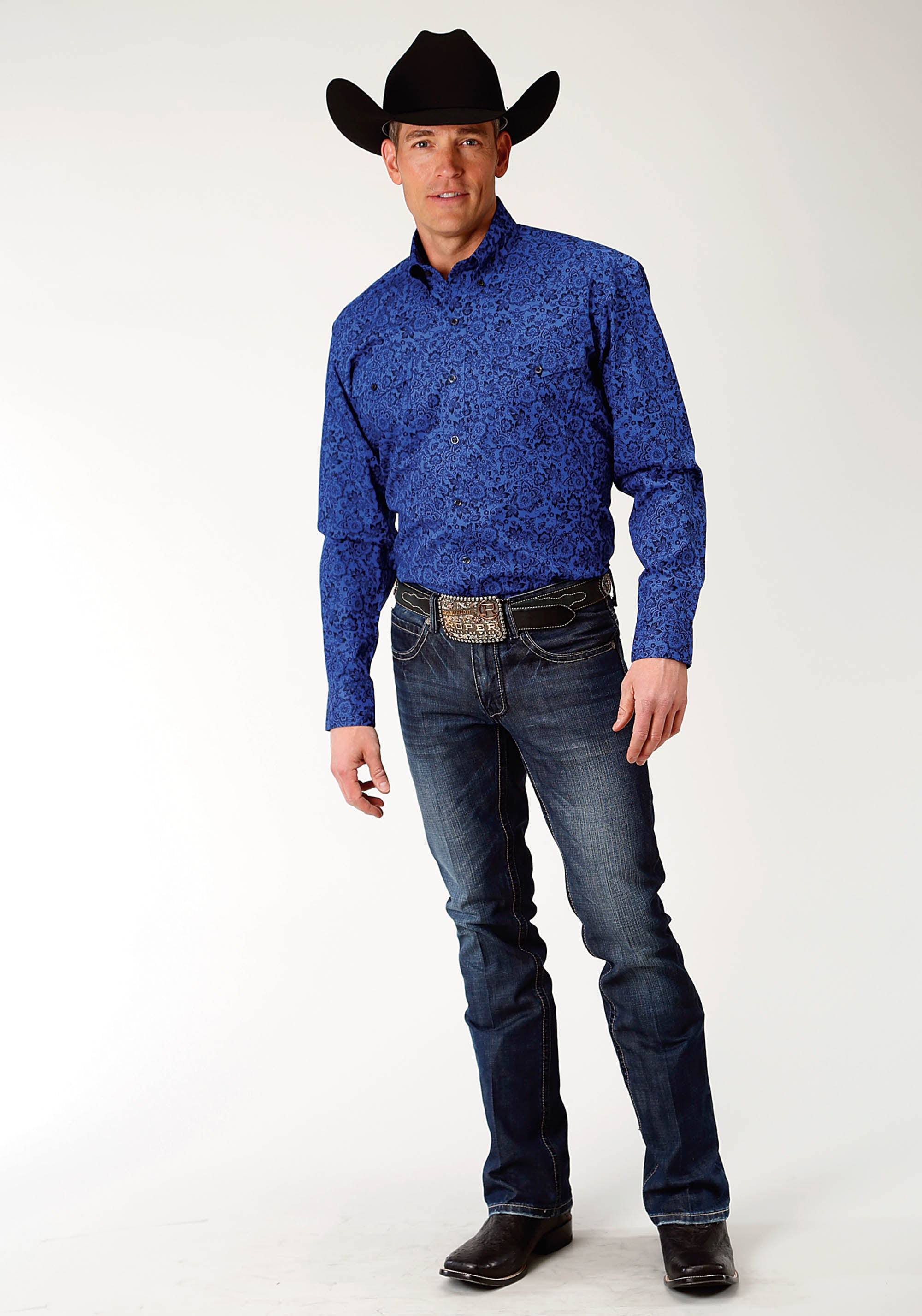 AMARILLO MENS BLUE 2240 WESTERN FLORAL SHADOW LAKE