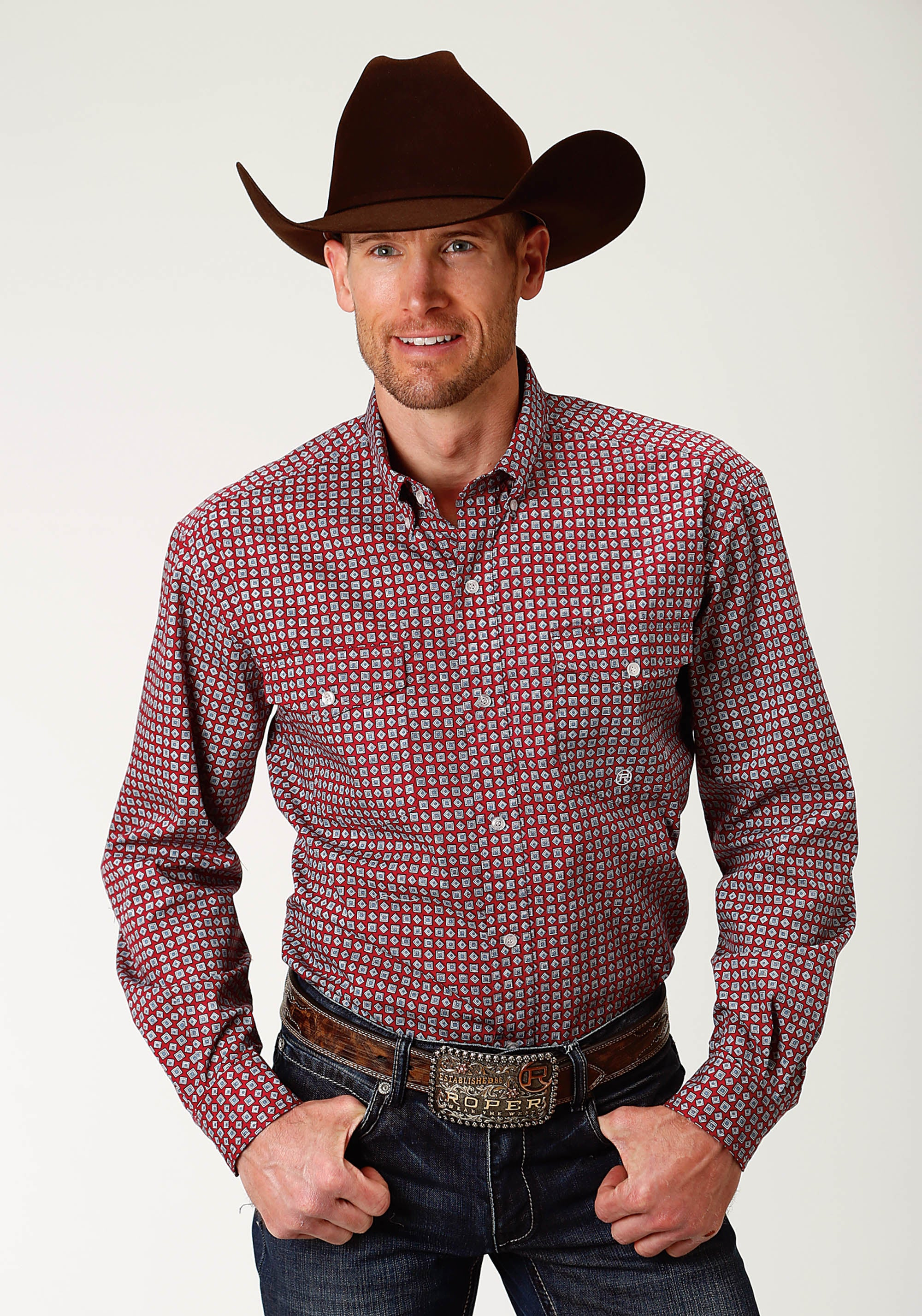 ROPER MENS RED 2440 RED GEO MEN'S AMARILLO COLLECTION- RED MARBLE LONG SLEEVE
