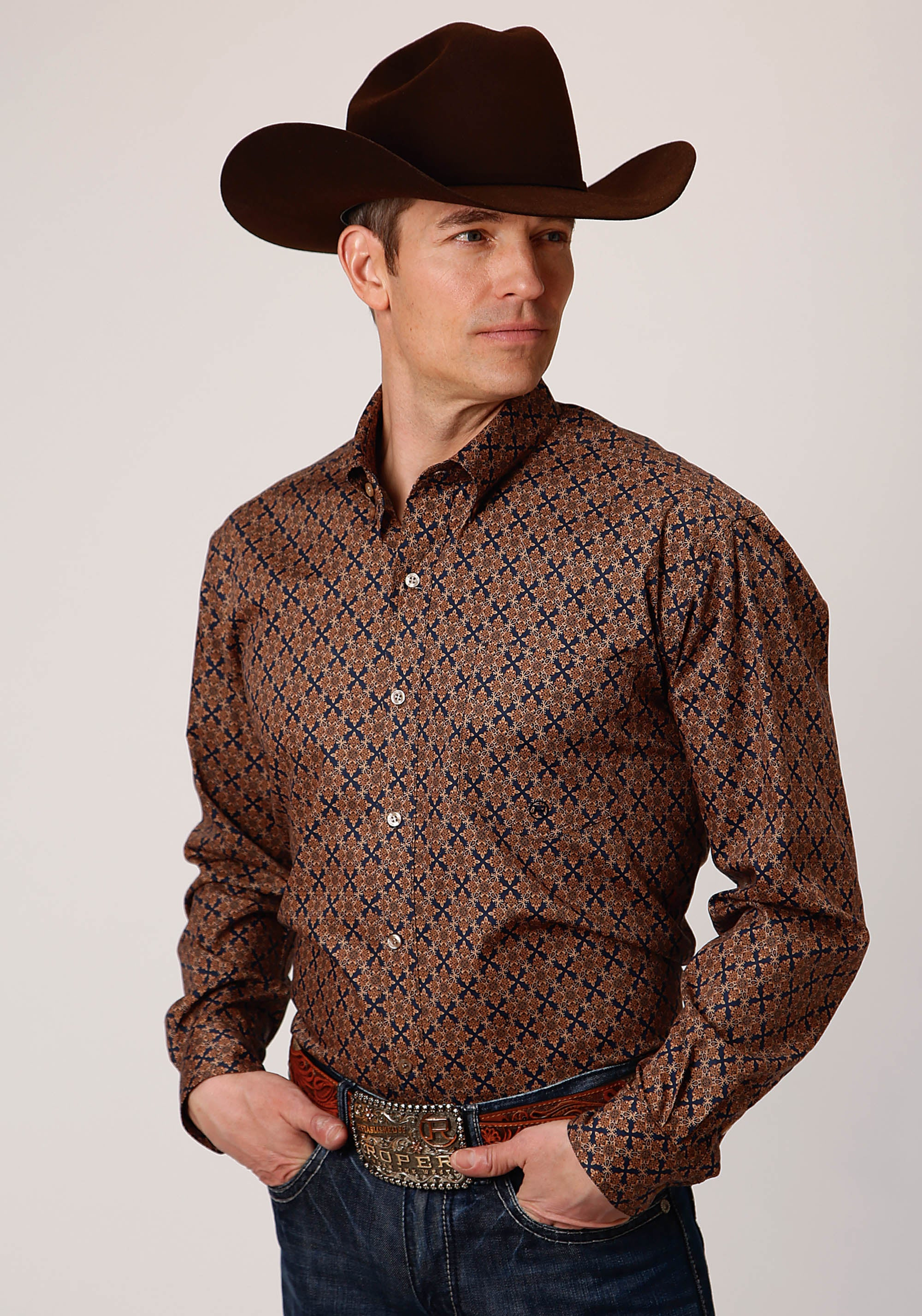 AMARILLO MENS BROWN 00268 DIAMOND MEDALLION CEDAR BROOK