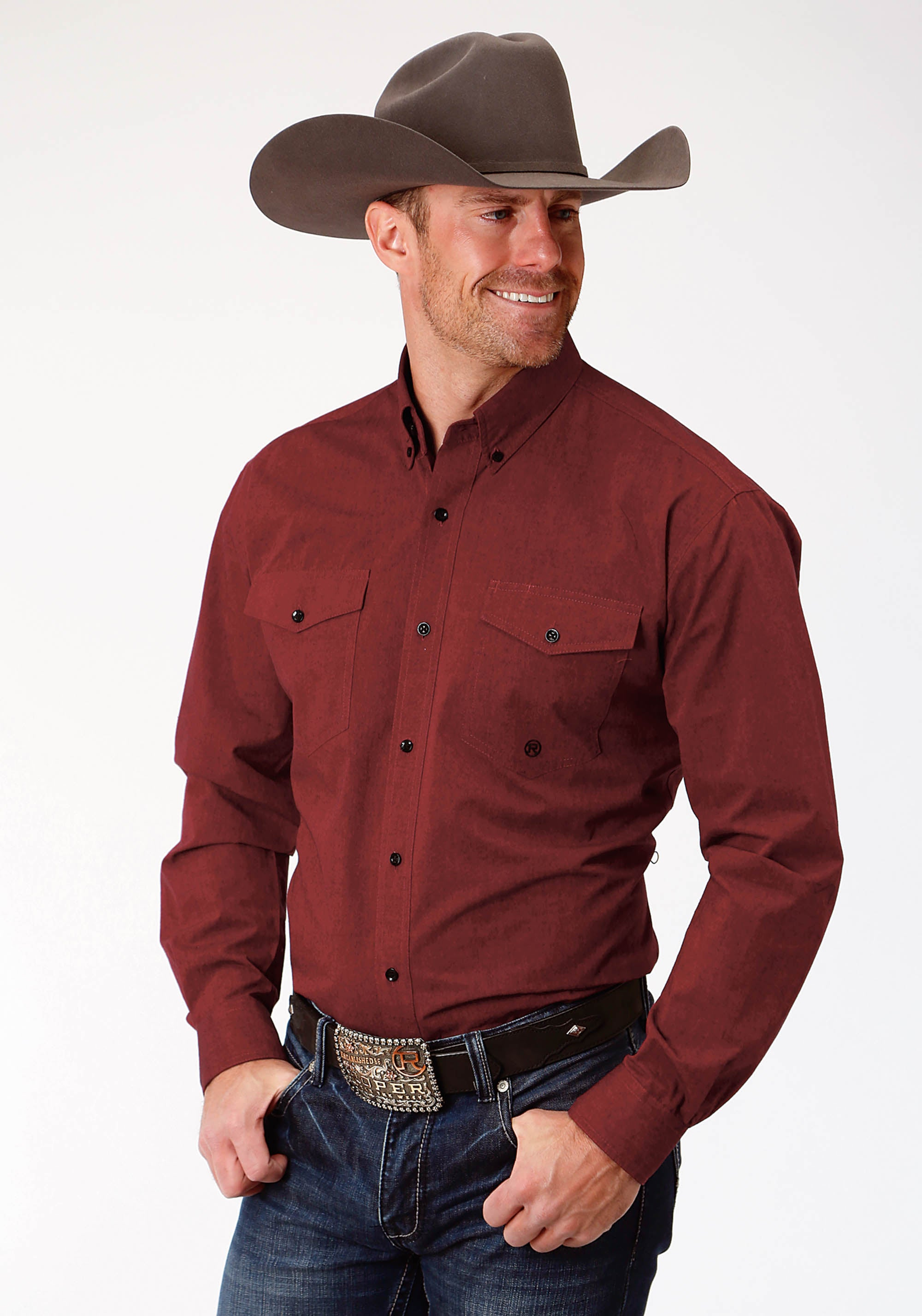 ROPER MENS RED 9723 SOLID RED BLACK FILL MEN'S AMARILLO COLLECTION- AUTUMN SUNSET LONG SLEEVE