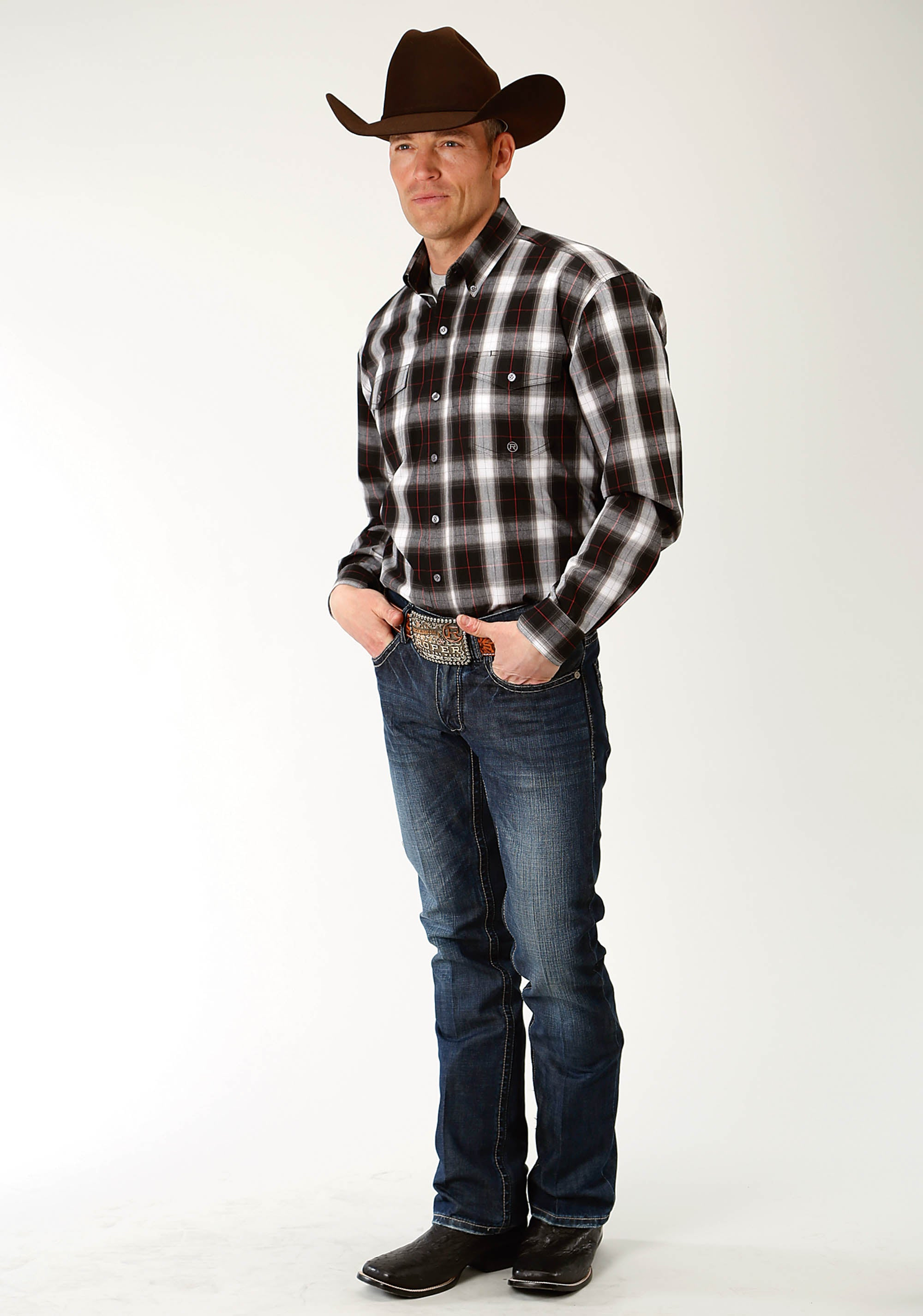 ROPER MENS BLACK 2245 BLACK PLAID MEN'S AMARILLO COLLECTION- RED CANYON LONG SLEEVE