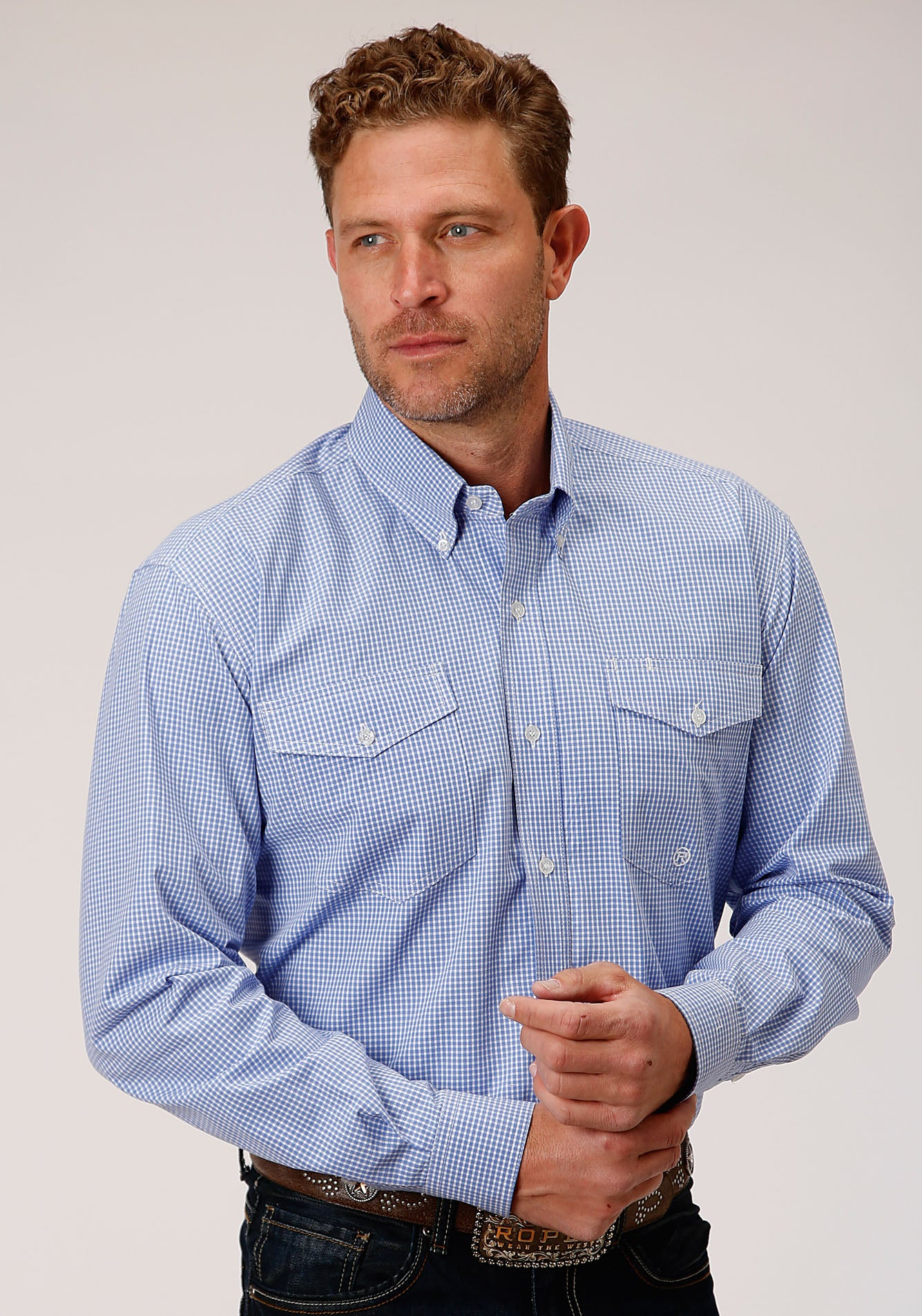 ROPER MENS BLUE 00069 MINI CHECK - PERIWINKLE MEN'S AMARILLO COLLECTION- DUSK LONG SLEEVE