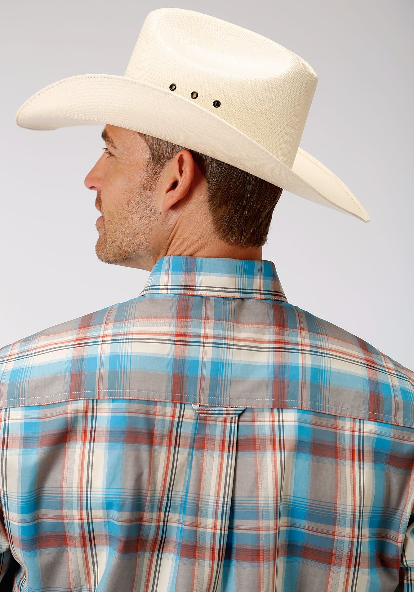 ROPER MENS BROWN 00016 OASIS PLAID MEN'S AMARILLO COLLECTION- OASIS LONG SLEEVE