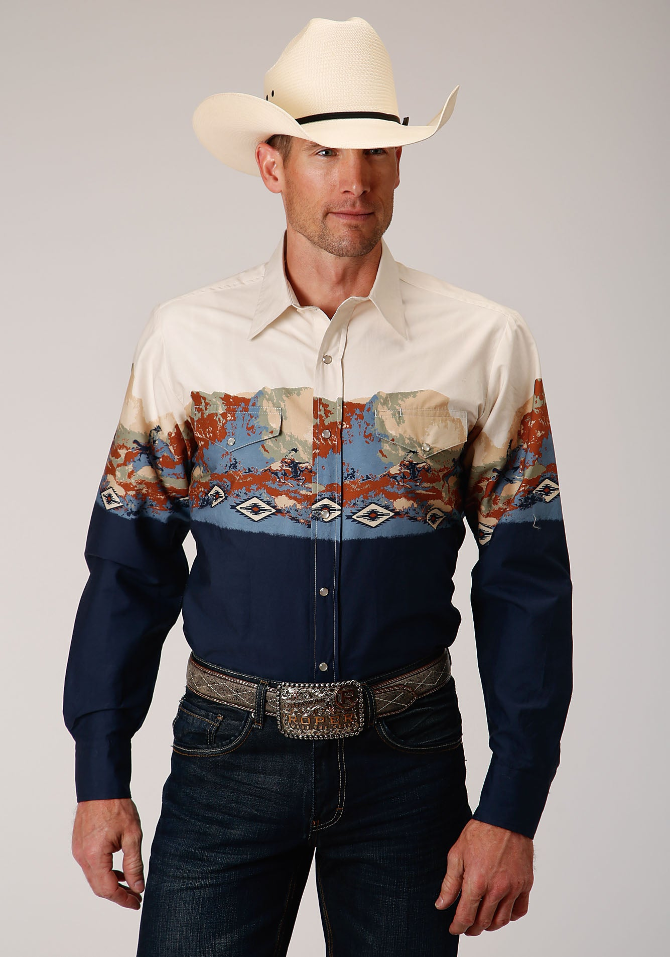 ROPER MENS BLUE 00073 RIDING BORDER WEST MADE COLLECTION LONG SLEEVE