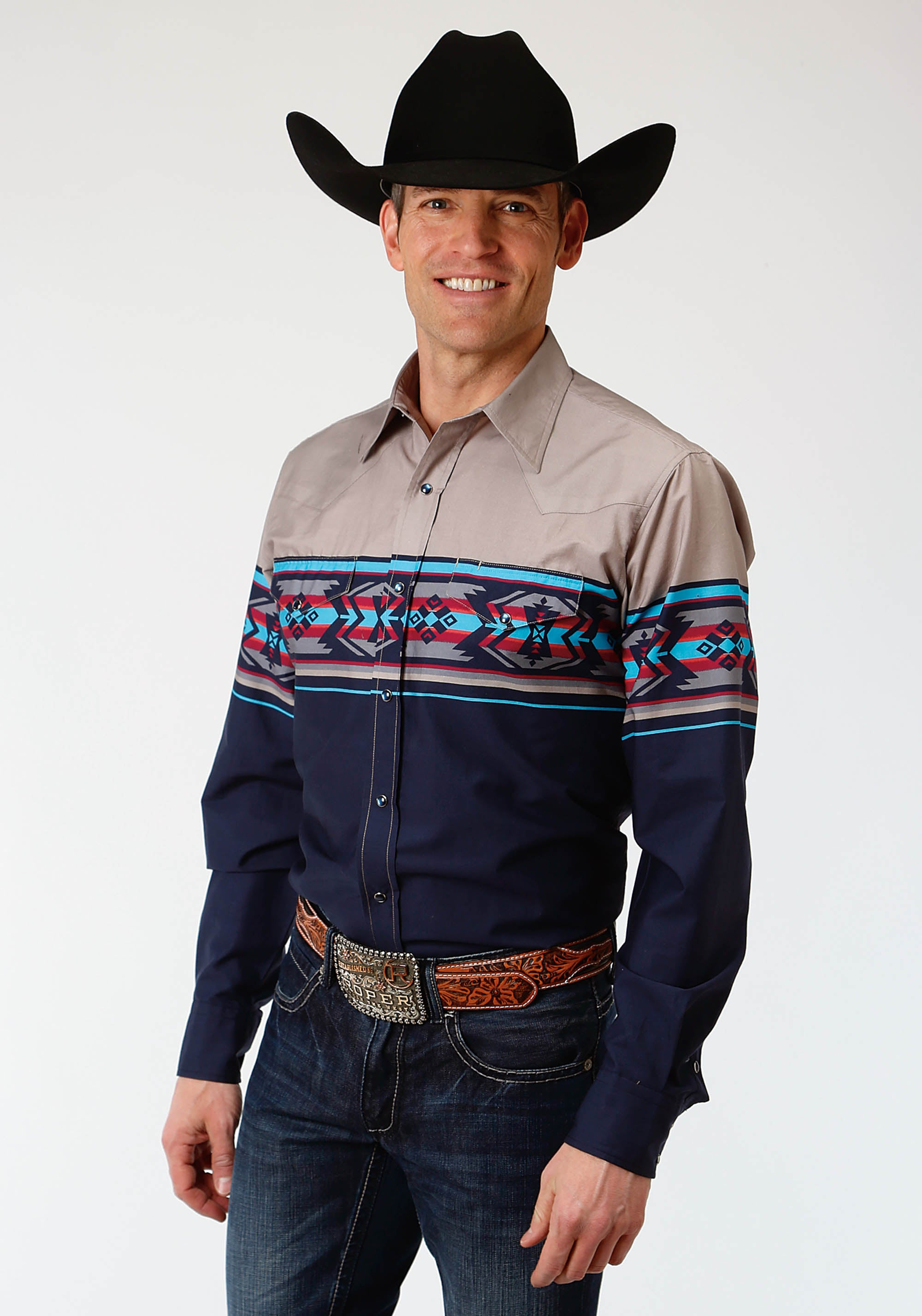 ROPER MENS BLUE 0809 AZTEC BORDER WEST MADE COLLECTION LONG SLEEVE