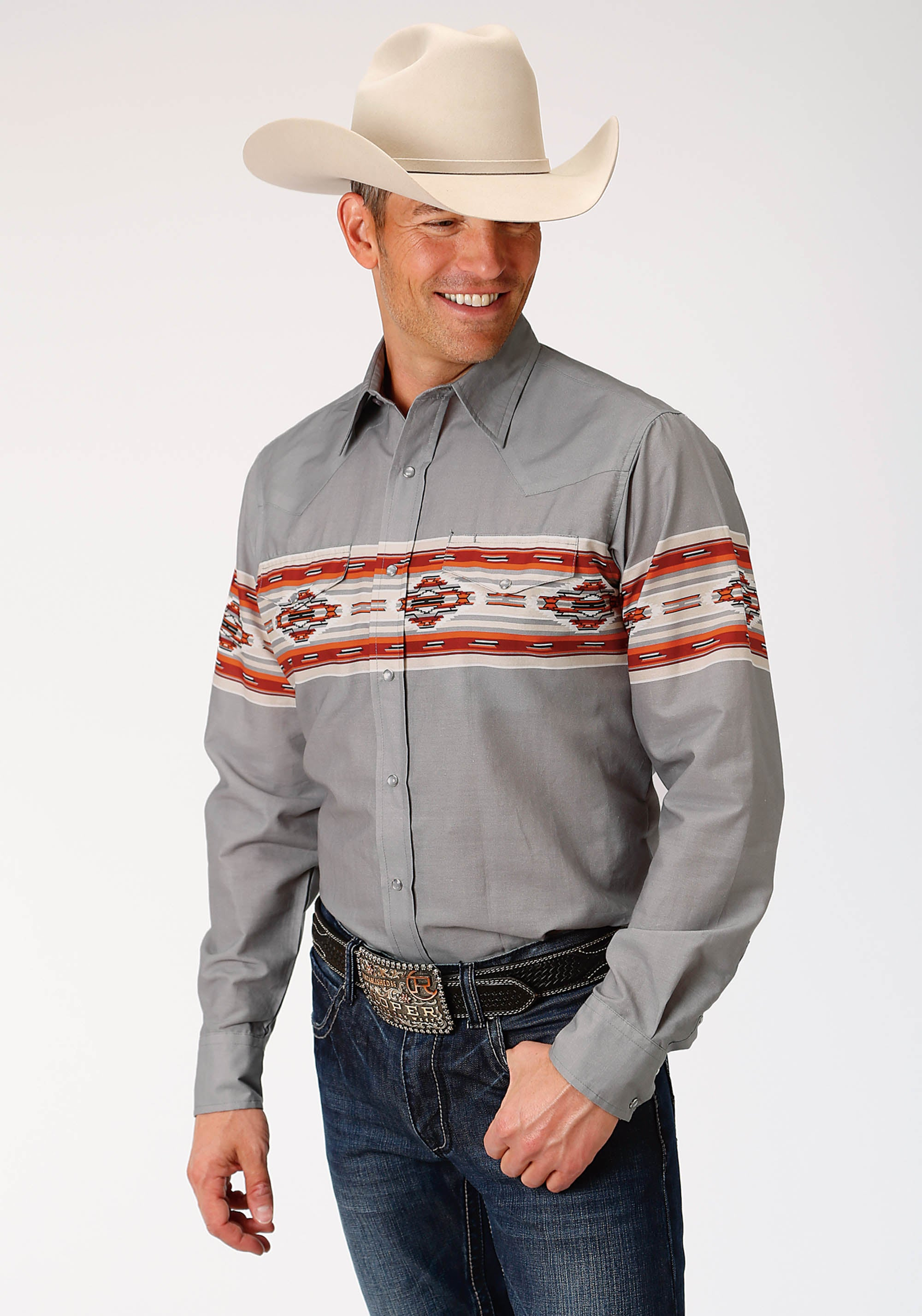 ROPER MENS GREY 3875 SERAPE BORDER WEST MADE COLLECTION LONG SLEEVE