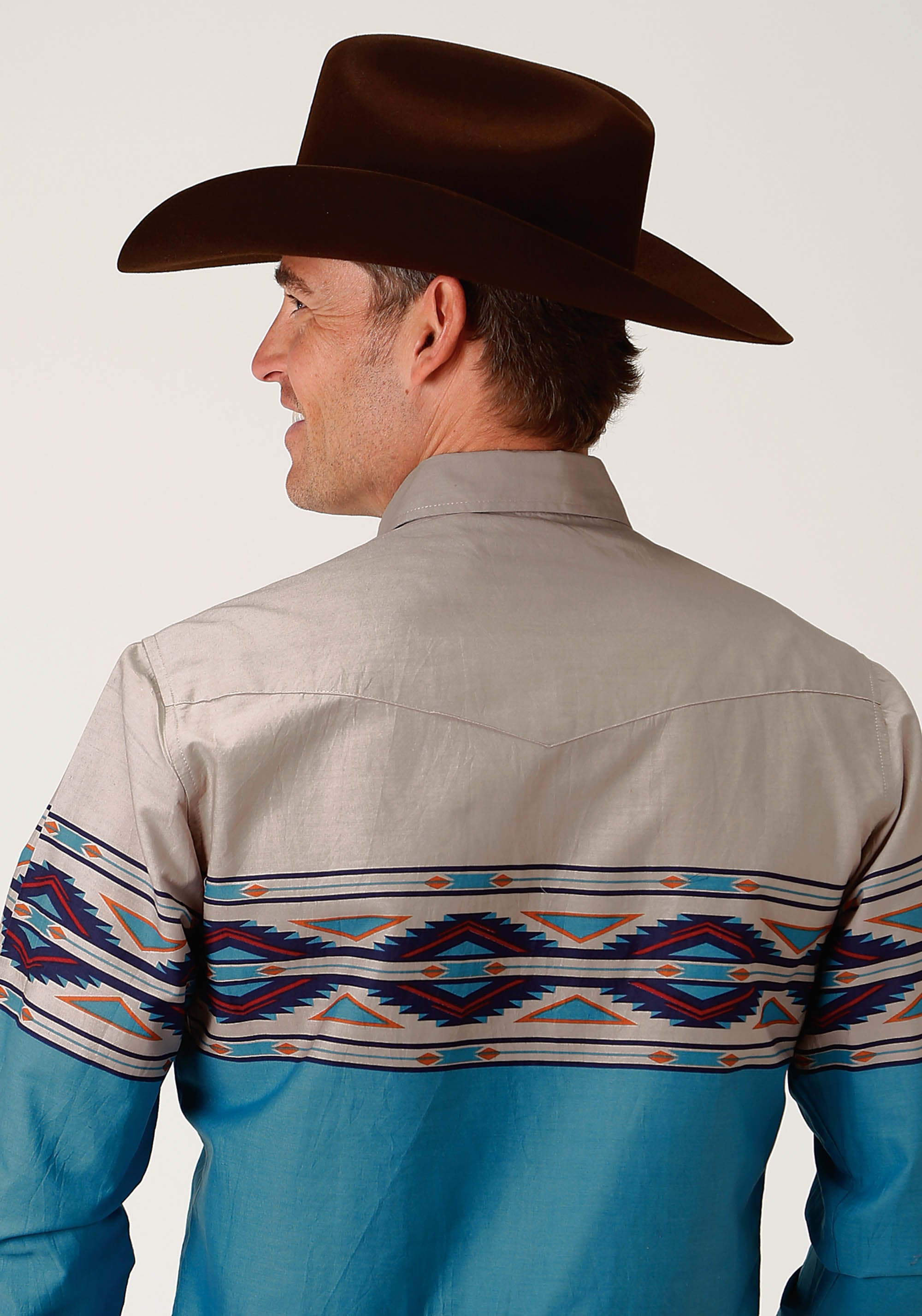 ROPER MENS BLUE 2074 AZTEC BORDER WEST MADE COLLECTION LONG SLEEVE