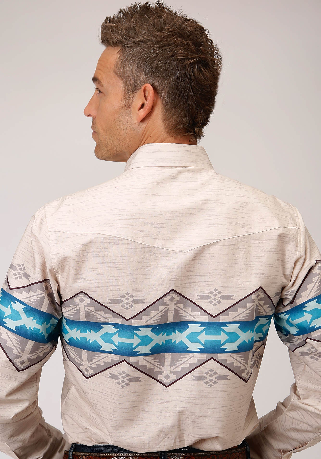 ROPER MENS WHITE 00189 AZTEC BORDER WEST MADE COLLECTION LONG SLEEVE