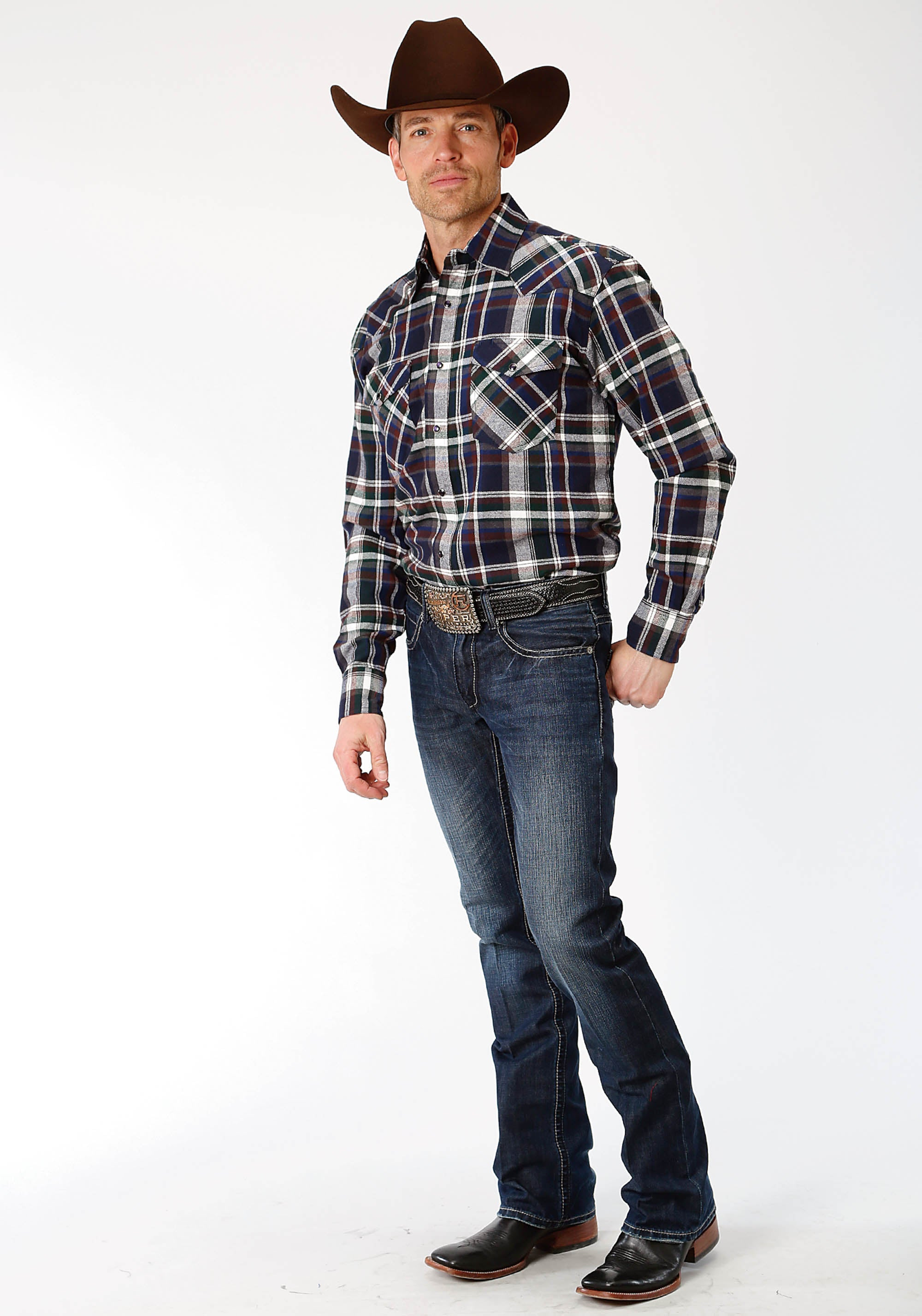 ROPER MENS GREEN 9372 GR/NA/BR PLAID FLANNEL SHIRT  LONG SLEEVE