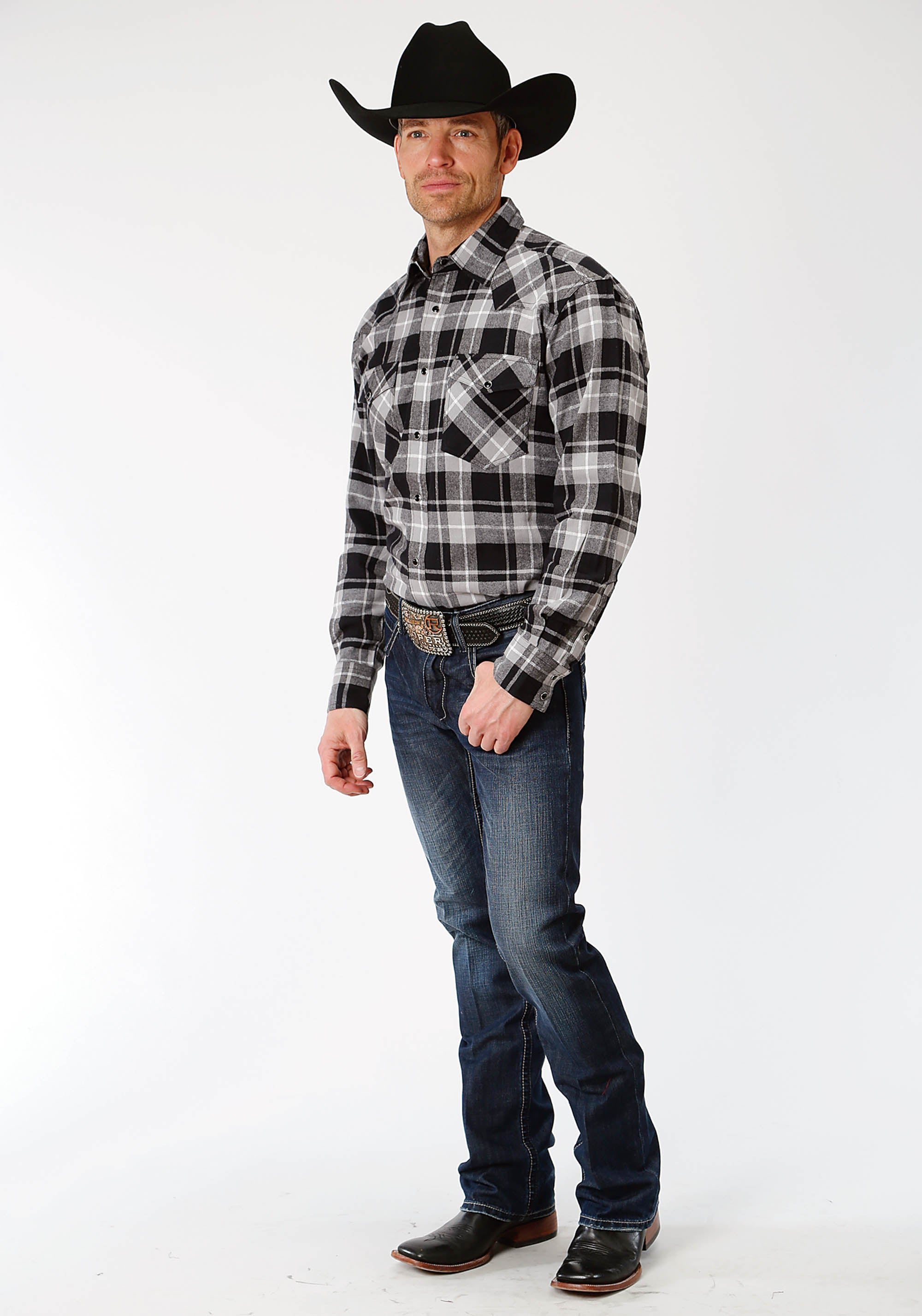 ROPER MENS BLACK 9372 BL/GY PLAID FLANNEL SHIRT  LONG SLEEVE