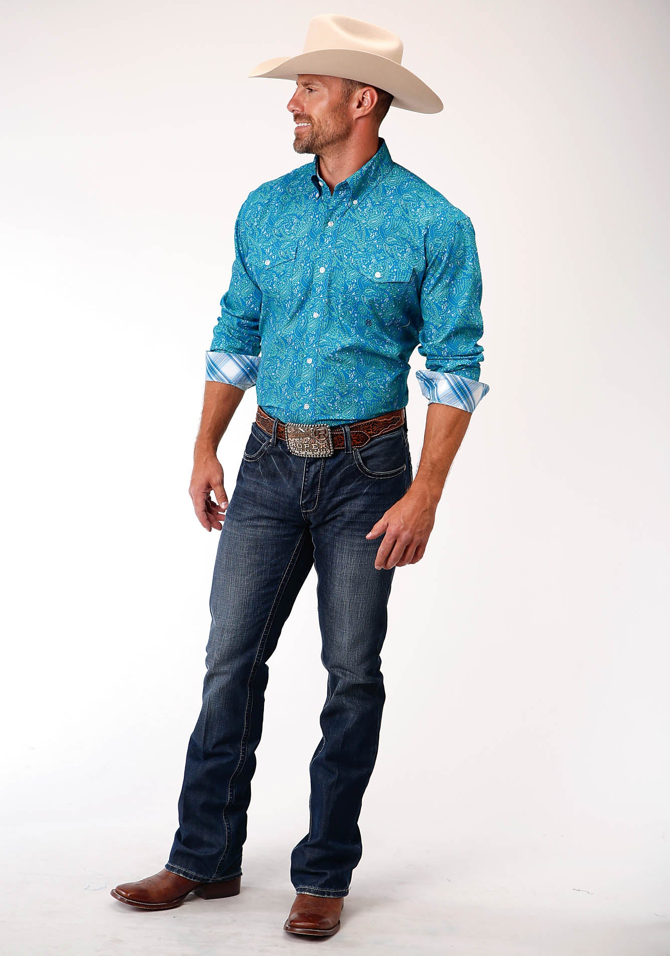 ROPER MENS BLUE 00152 MEADOW PAISLEY MEN'S AMARILLO COLLECTION - BLUE RIDGE LONG SLEEVE