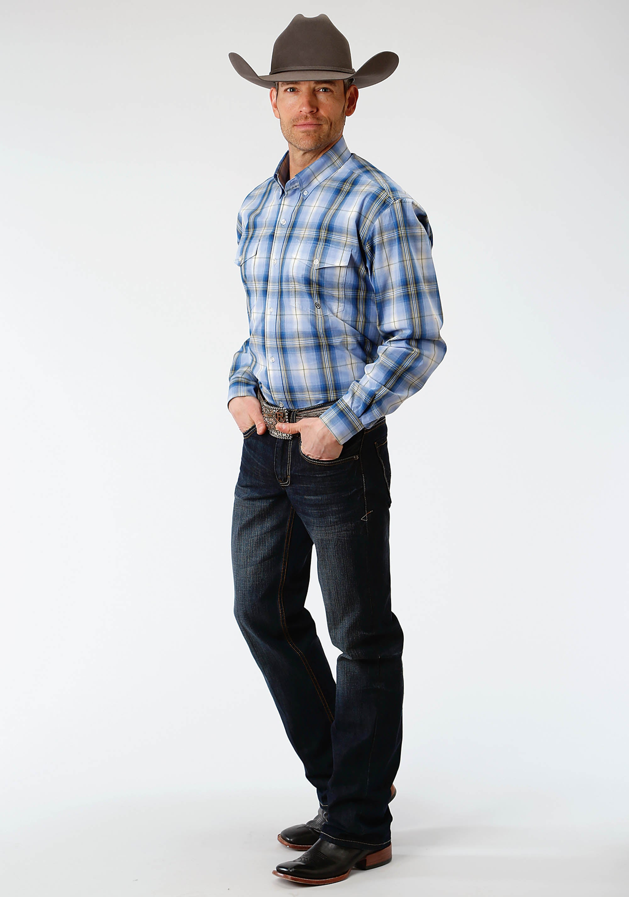 AMARILLO MENS BLUE 1331 BLUE GRASS PLAID MEADOW
