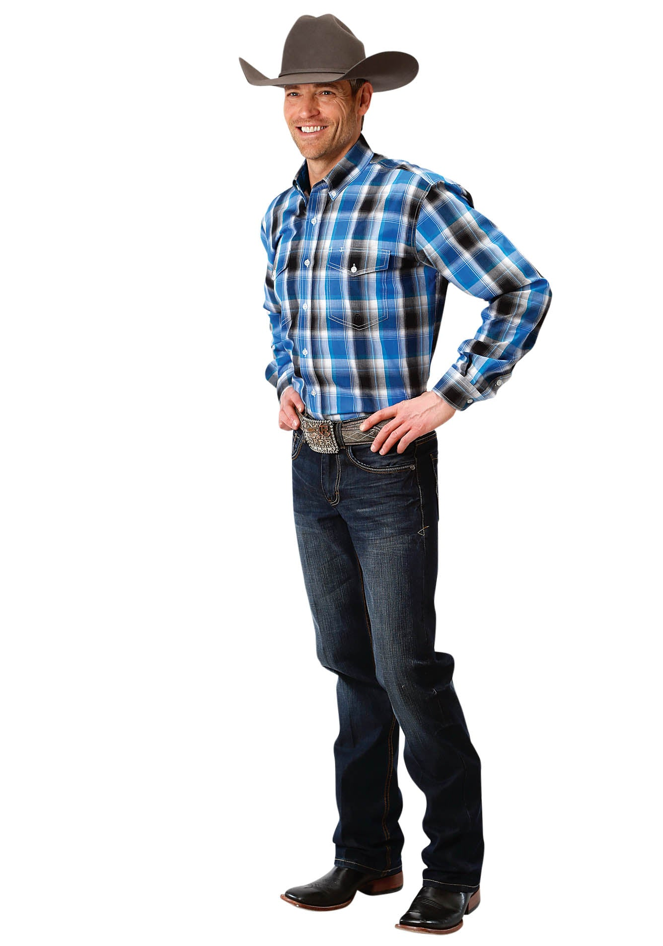 AMARILLO MENS BLUE 1353 BLUE STAR PLAID STARLIGHT