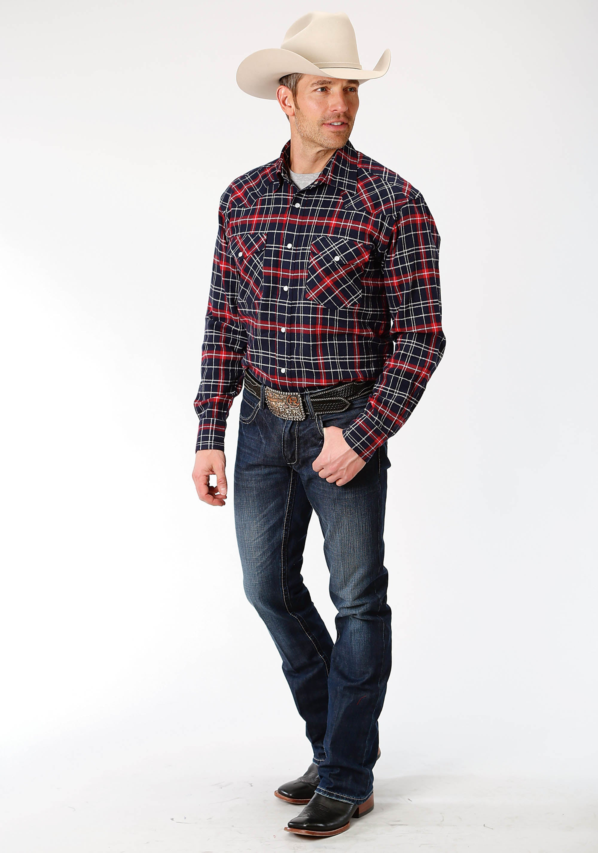 OUTERWEAR MENS RED 9372 RE/NA PLAID FLANNEL SHIRT PRE-PACK
