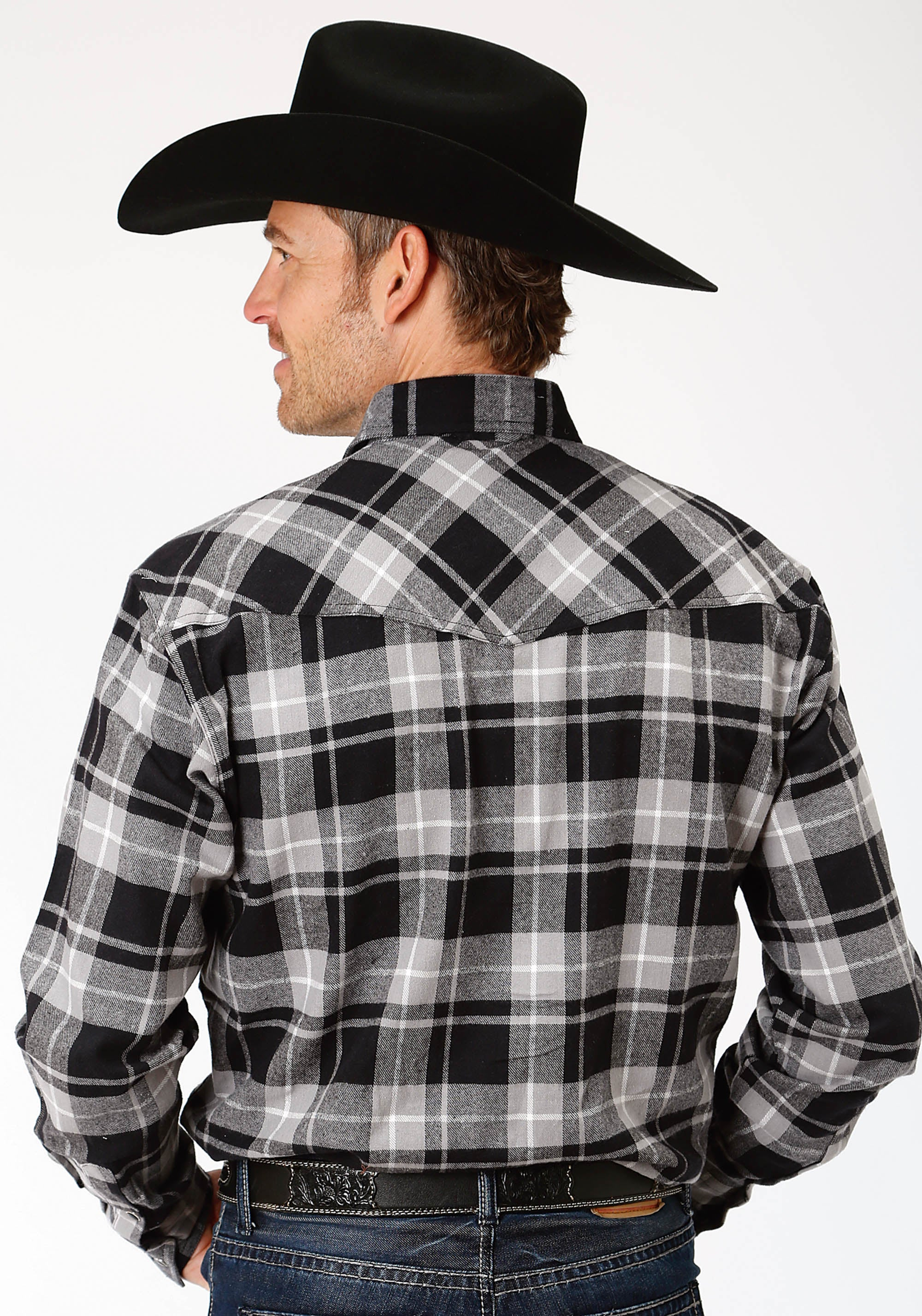 OUTERWEAR MENS BLACK 9372 BL/GY PLAID FLANNEL SHIRT PRE-PACK