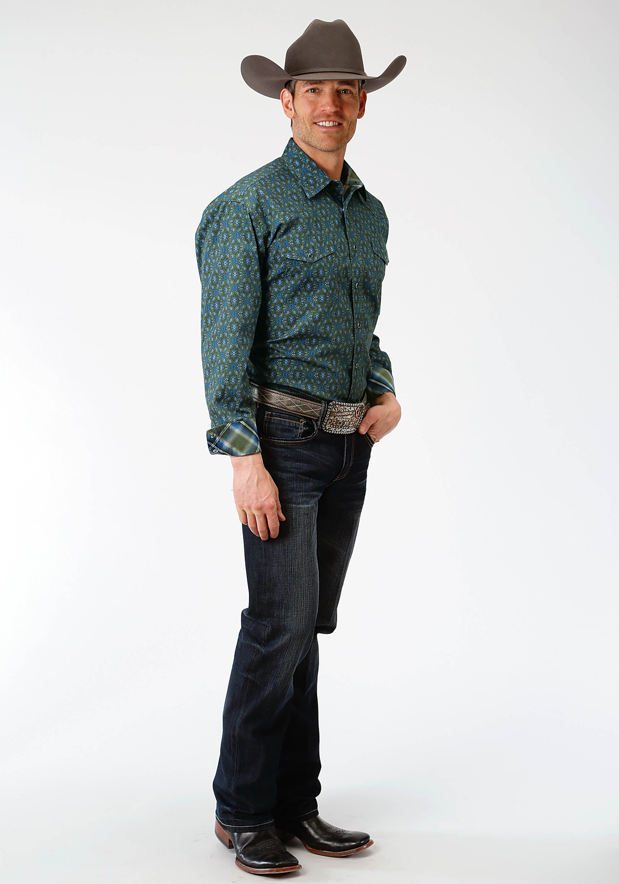 ROPER MENS GREEN 1249 MEADOW PAISLEY MEN'S AMARILLO COLLECTION- MEADOW LONG SLEEVE