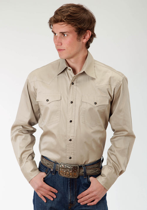 BASIC SOLID MENS BROWN SOLID POPLIN - KHAKI POPLIN