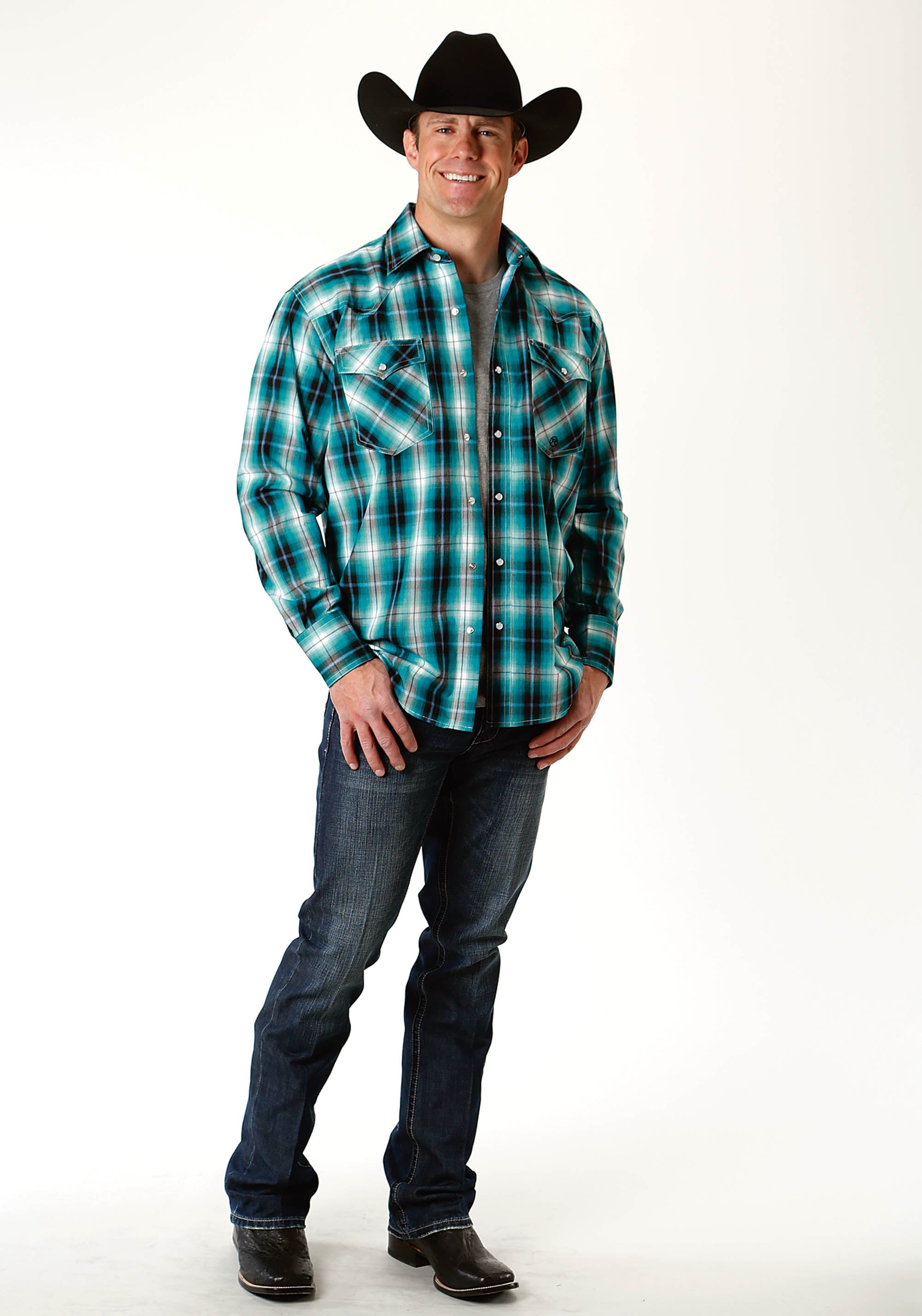 ROPER MENS BLUE 2233 BLUE MESA PLAID MEN'S AMARILLO COLLECTION- BLUE SPRUCE LONG SLEEVE