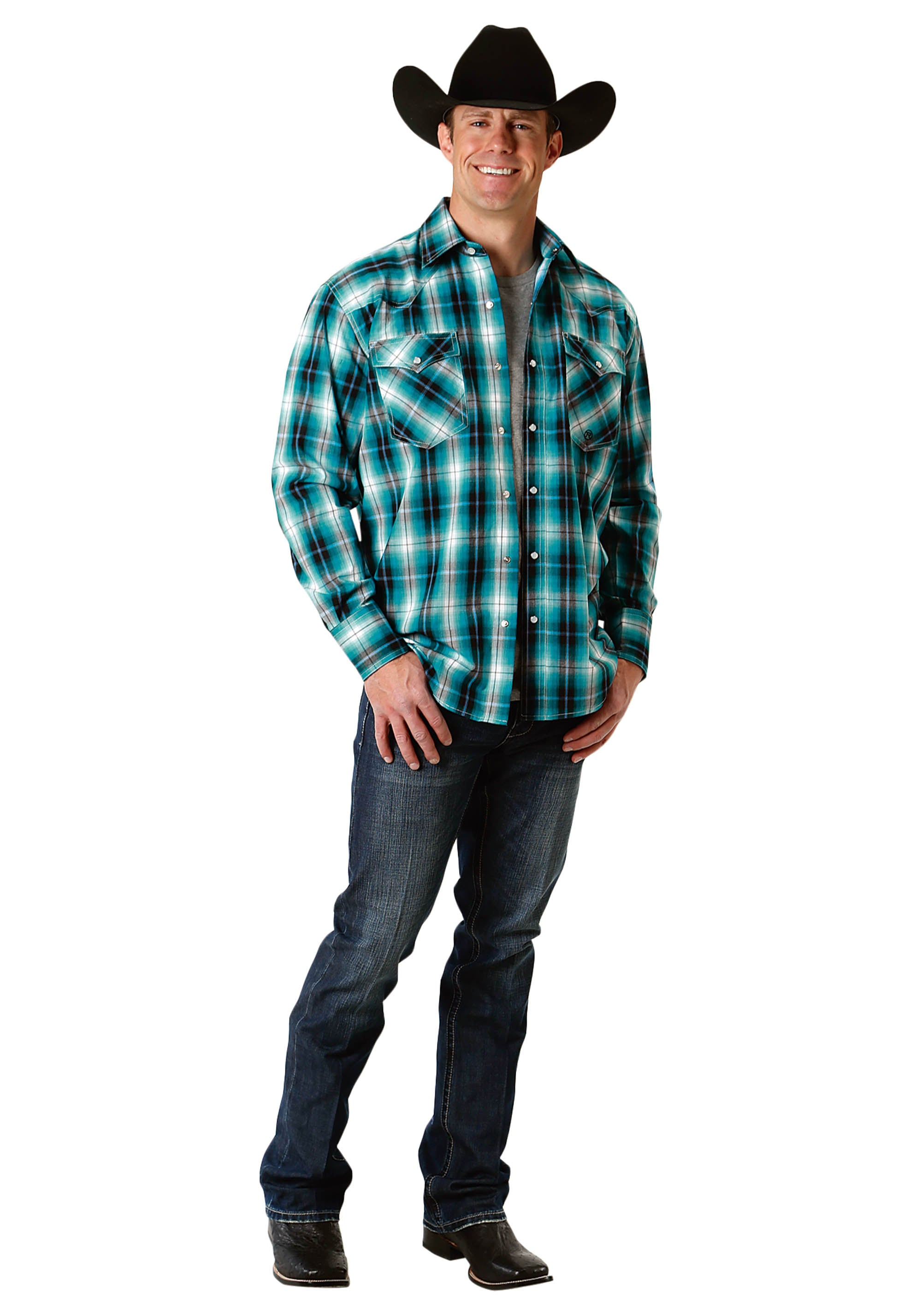 AMARILLO MENS TURQUOISE 2233 BLUE MESA PLAID BLUE SPRUCE