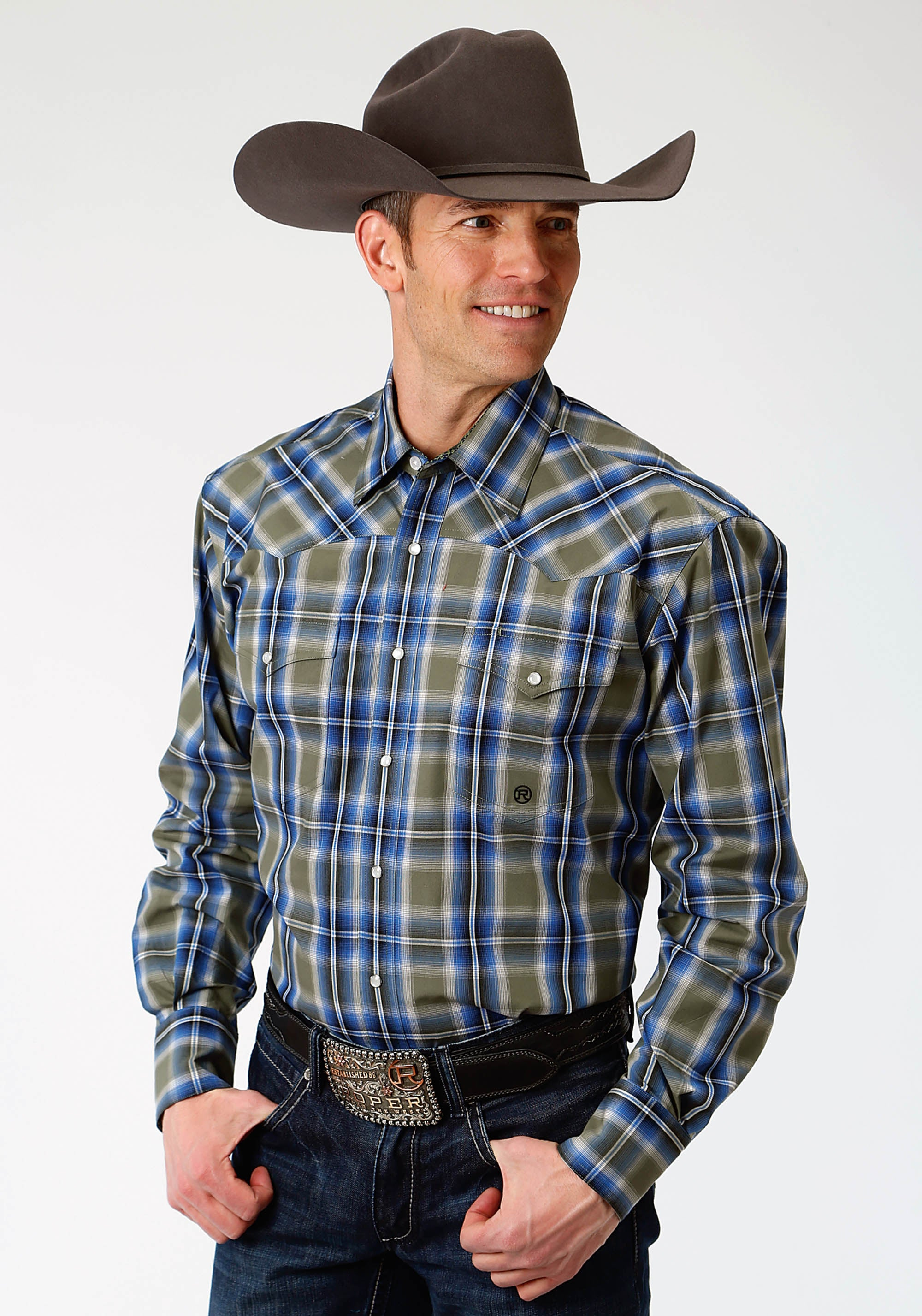 ROPER MENS GREEN 1288 MEADOW PLAID MEN'S AMARILLO COLLECTION- MEADOW LONG SLEEVE