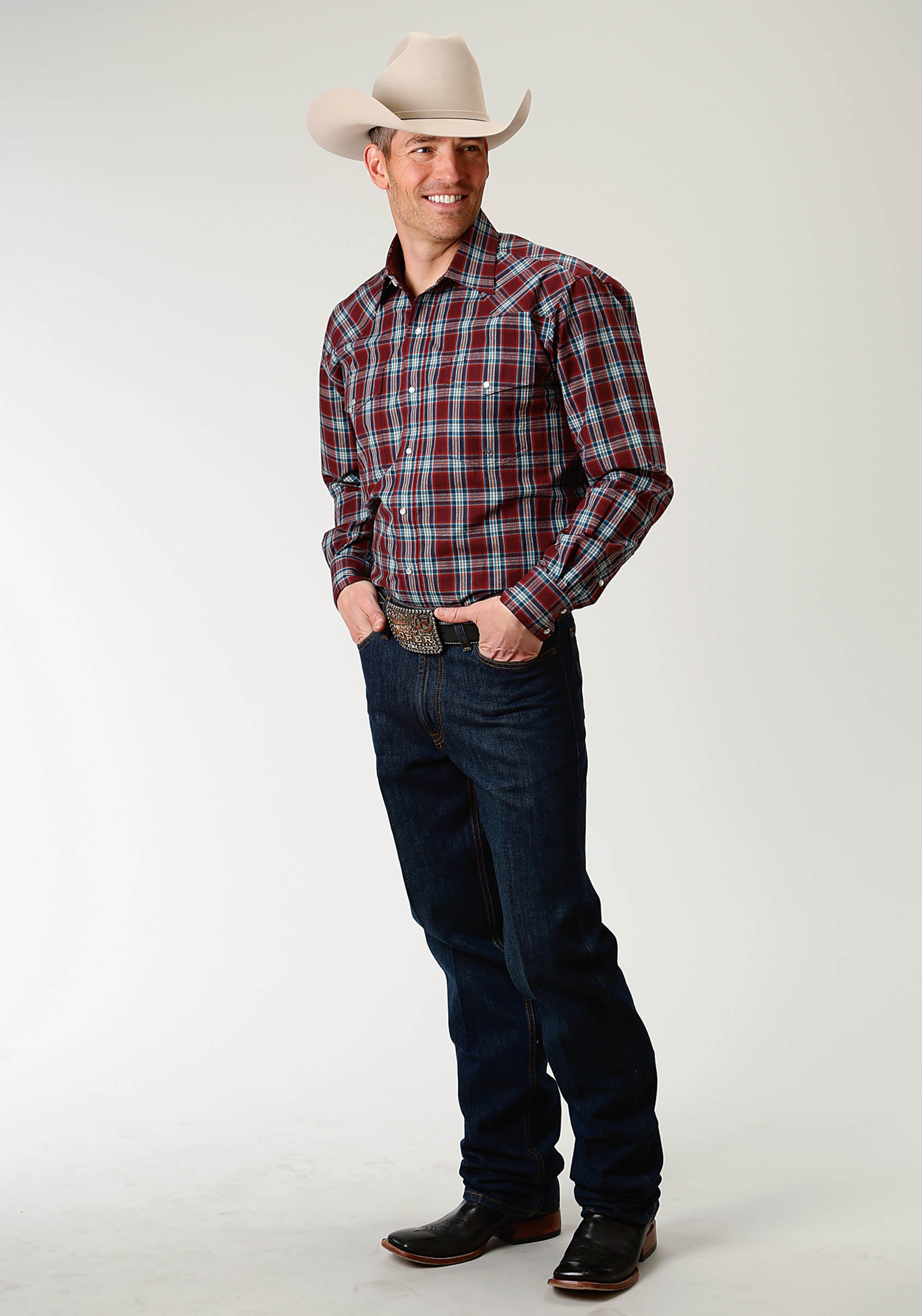 ROPER MENS RED 1876 PORT PLAID AMARILLO COLLECTION- RIO GRAND LONG SLEEVE