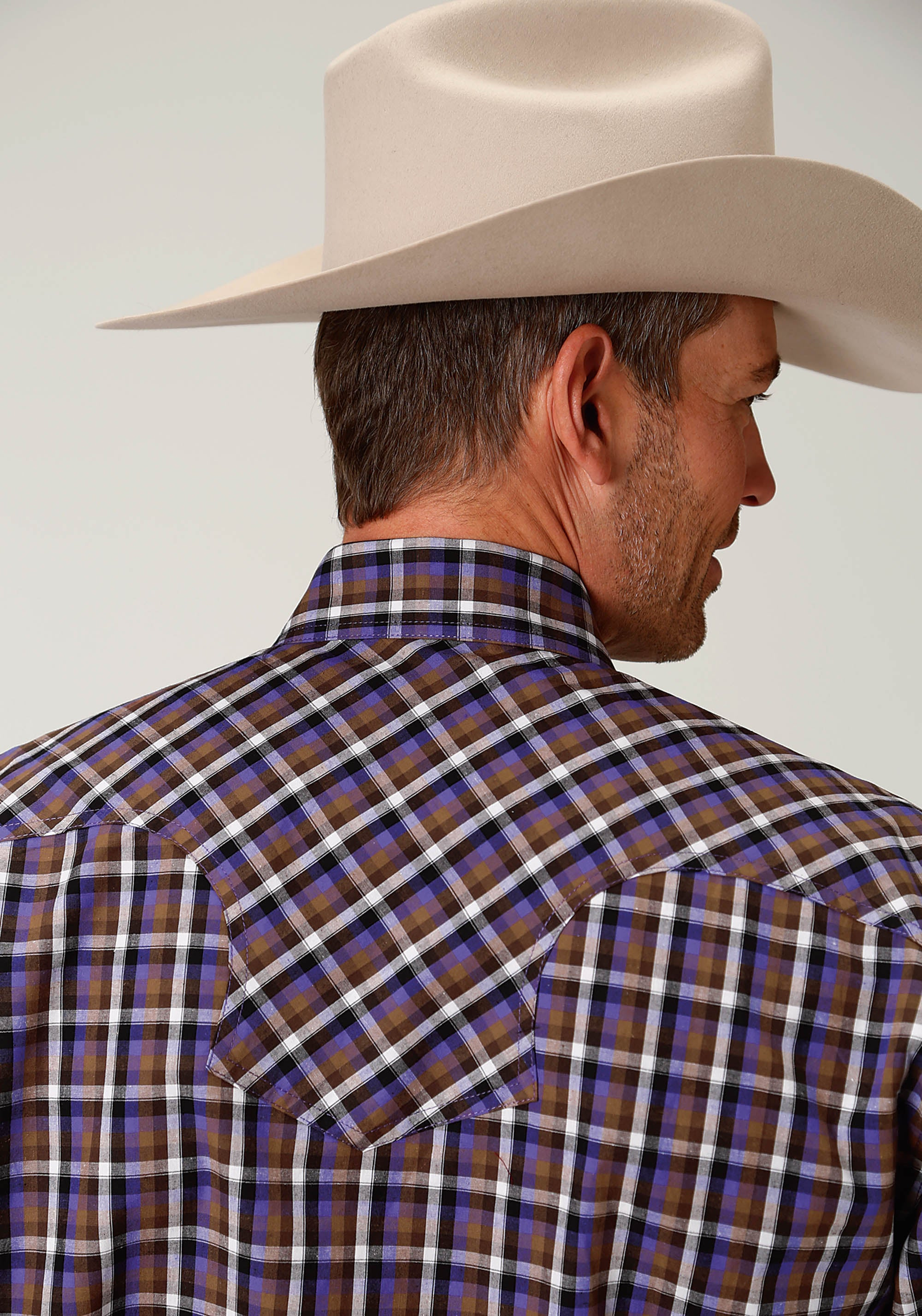 ROPER MENS BROWN 1880 PLUM CHECK AMARILLO COLLECTION- PLUM CREEK LONG SLEEVE