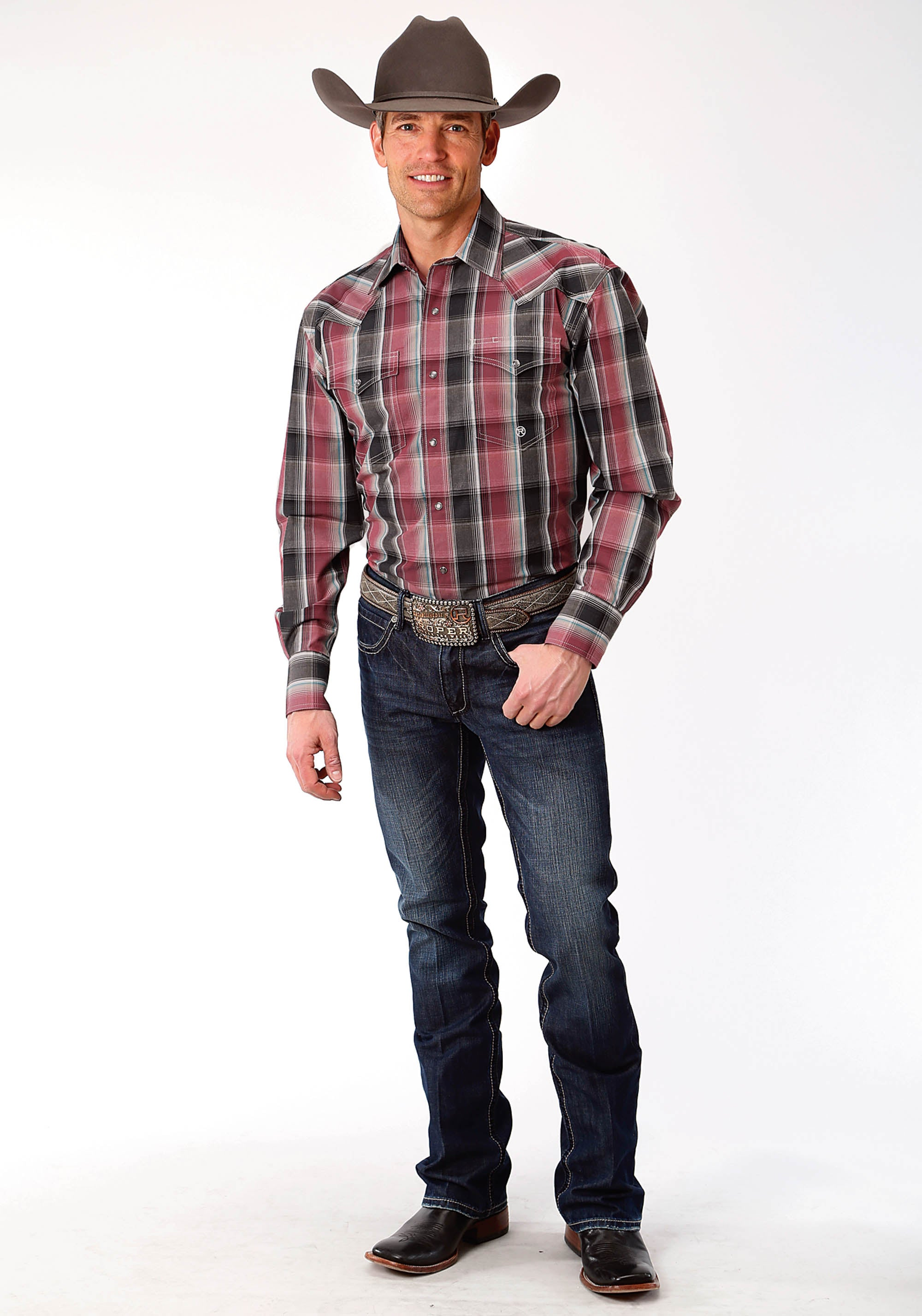 ROPER MENS RED 9622 EMBERS PLAID MEN'S AMARILLO COLLECTION- CHARCOAL EMBERS LONG SLEEVE