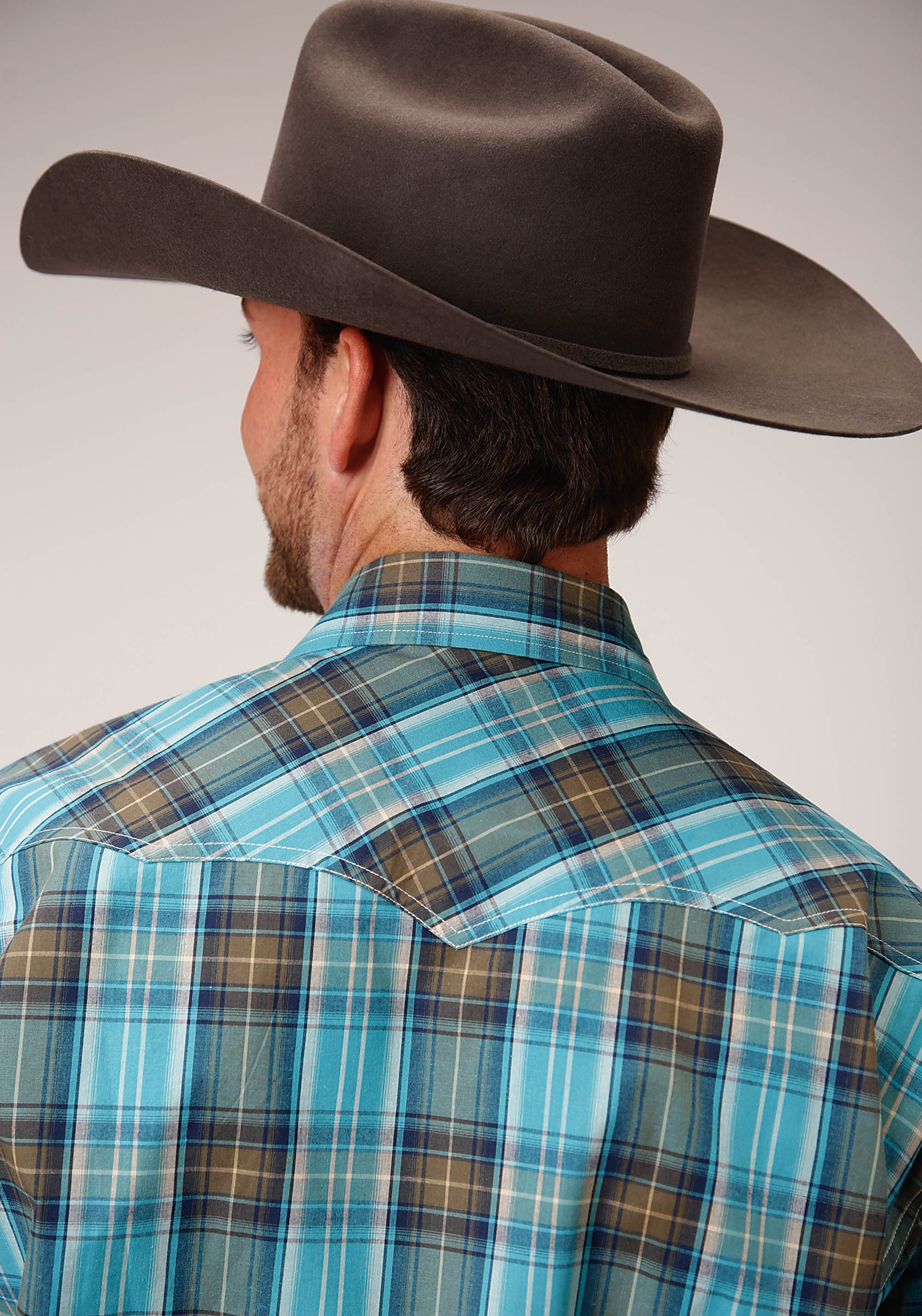 AMARILLO MENS GREEN 00275 SEA GREEN PLAID COOL PINES