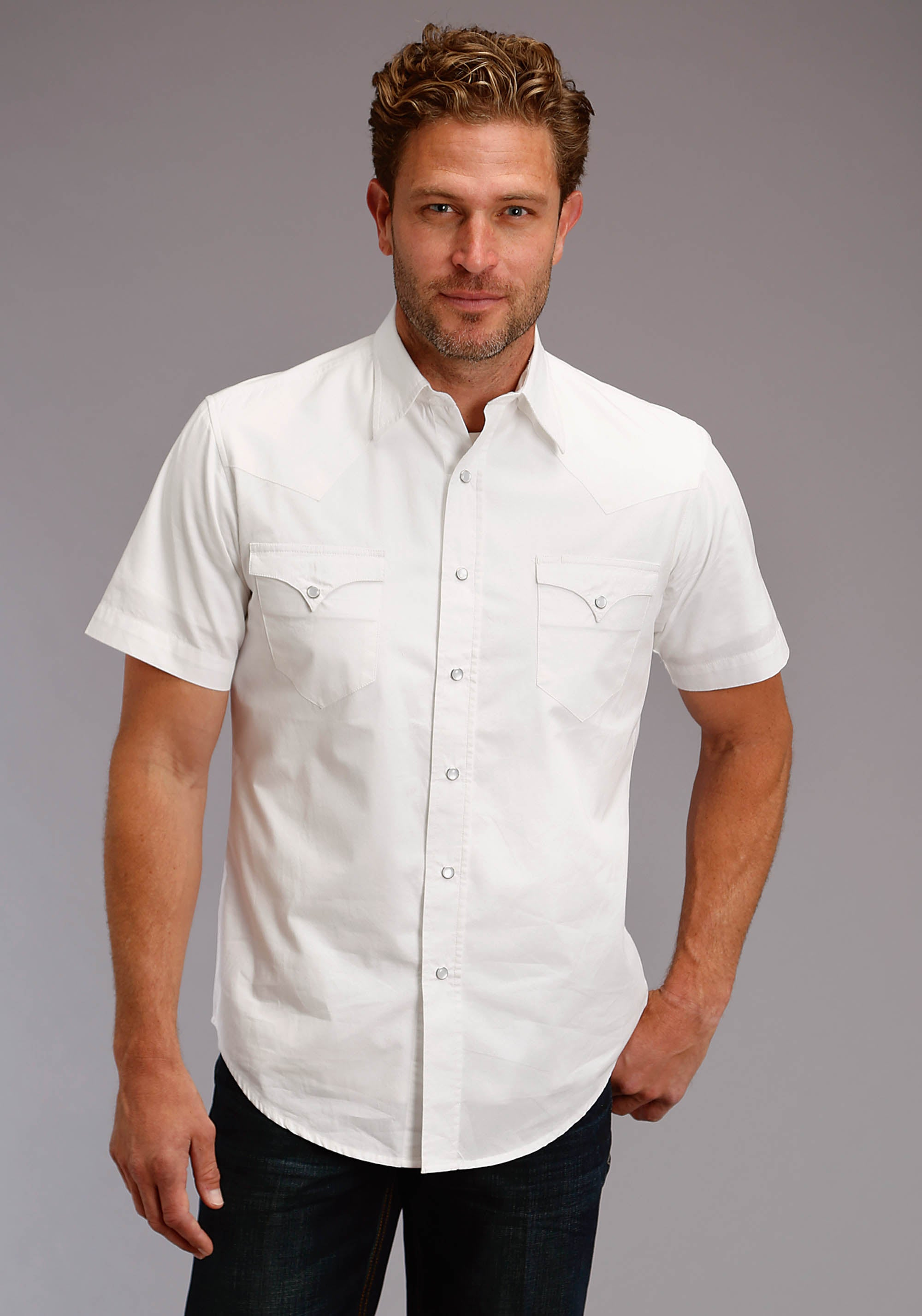 ROPER MENS WHITE 2613 SOLID WHITE POPLIN WEST MADE COLLECTION SHORT SLEEVE
