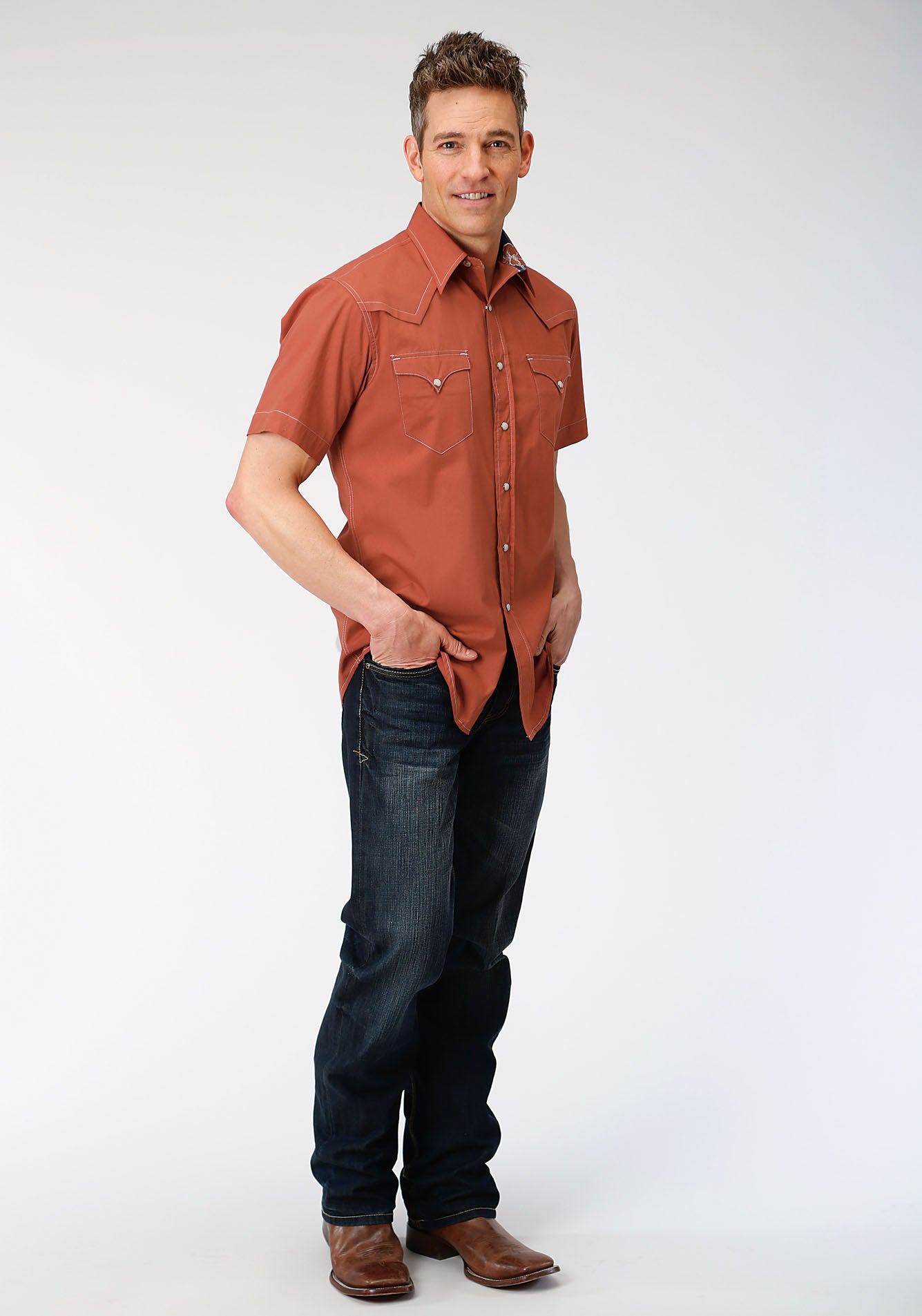 ROPER MENS ORANGE 00106 SOLID POPLIN - ORANGE WEST MADE COLLECTION SHORT SLEEVE