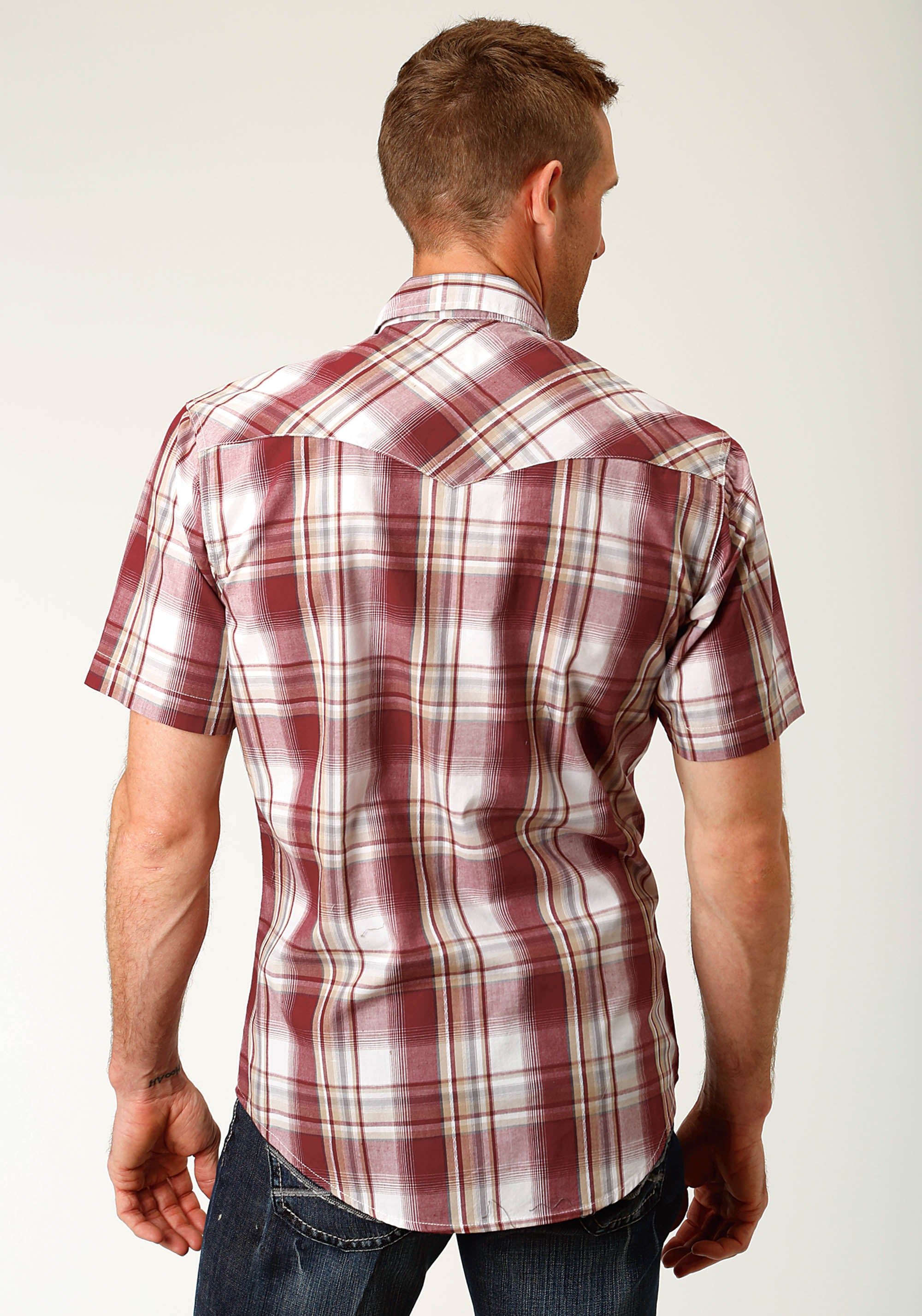 ROPER MENS RED 2602 EX DOBBY PLIAD WEST MADE COLLECTION SHORT SLEEVE