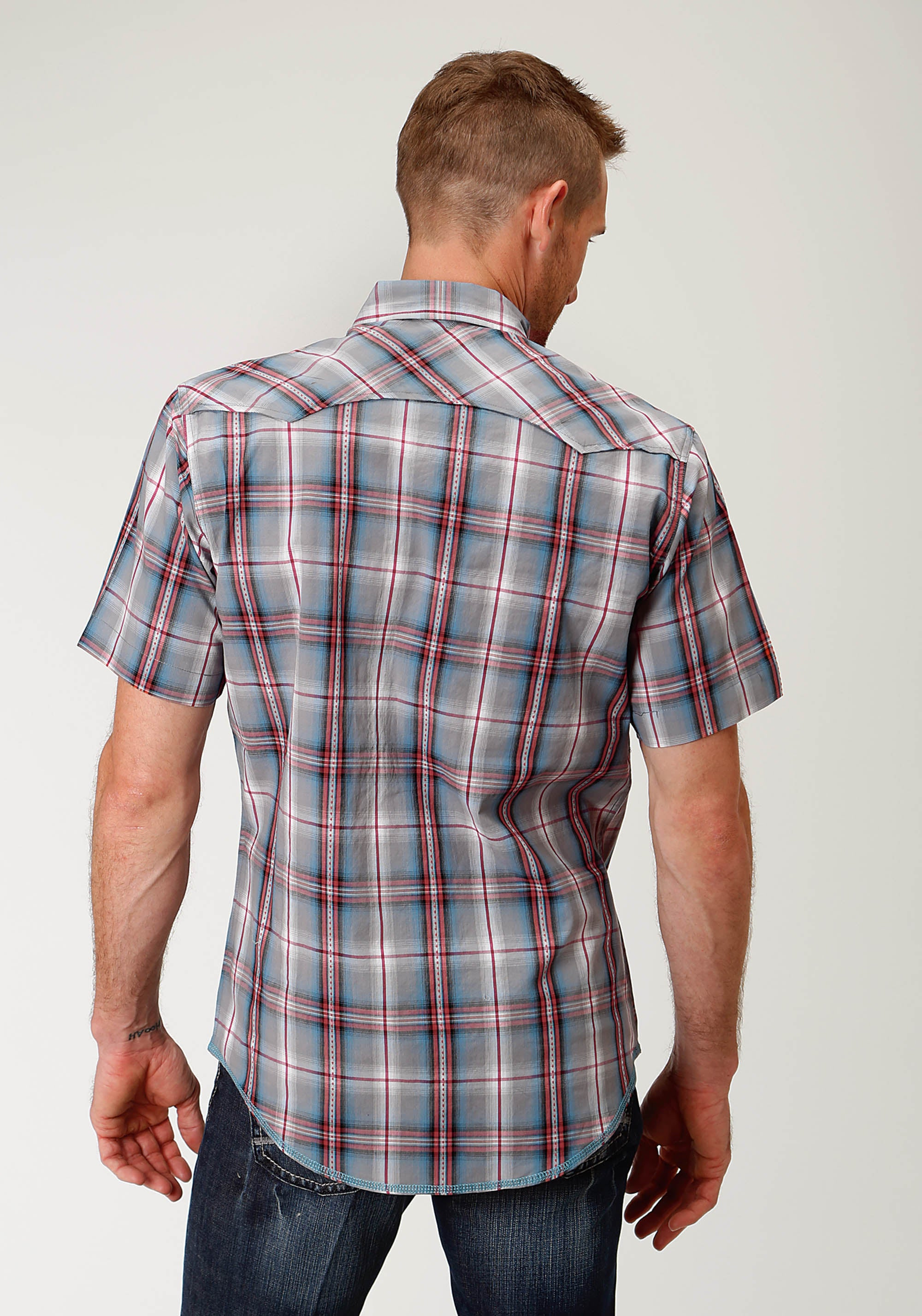 ROPER MENS GREY 2605 GREY DIAMOND PLAID WEST MADE COLLECTION SHORT SLEEVE