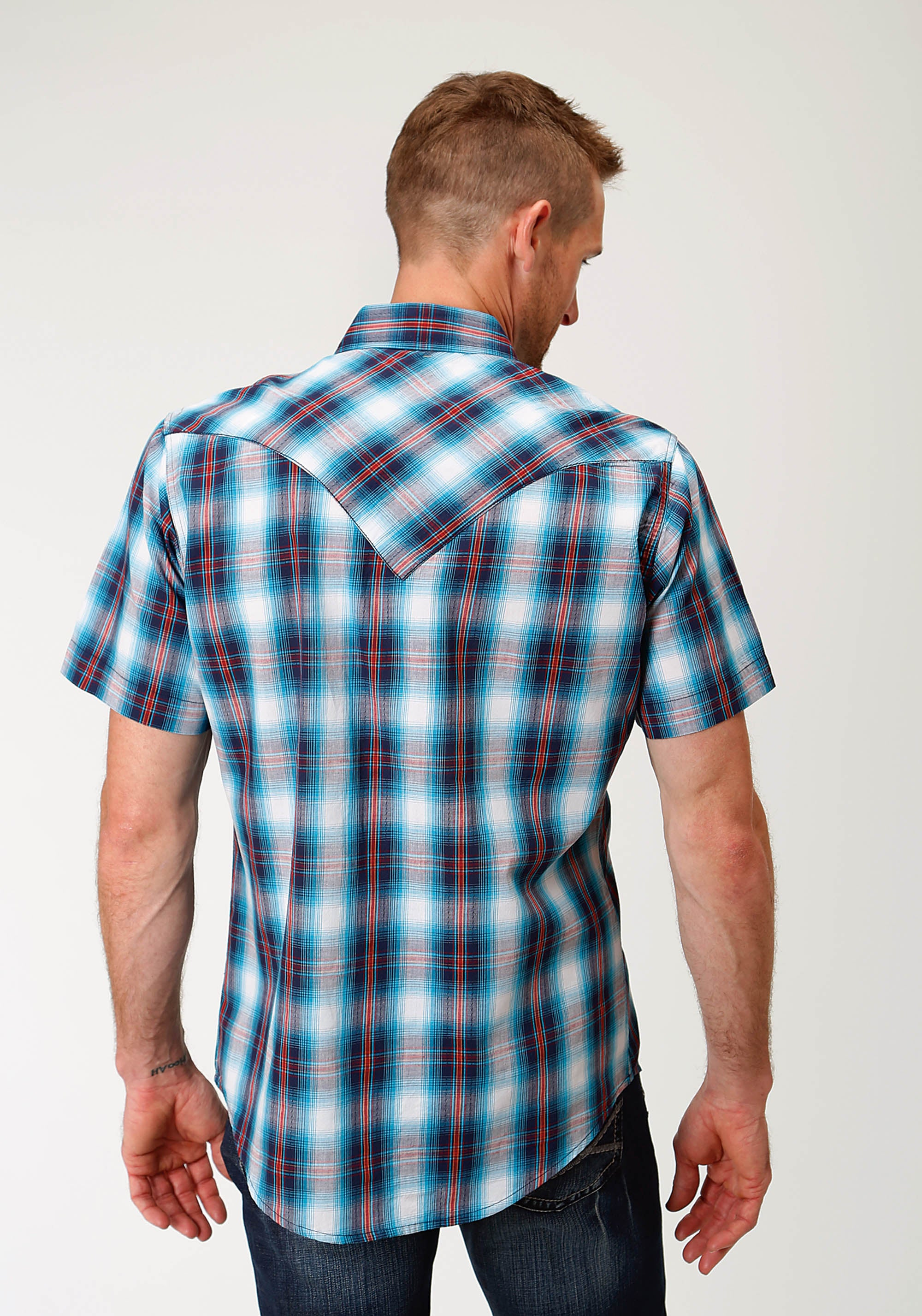 ROPER MENS BLUE 2606 WHITE STAR PLAID WEST MADE COLLECTION SHORT SLEEVE
