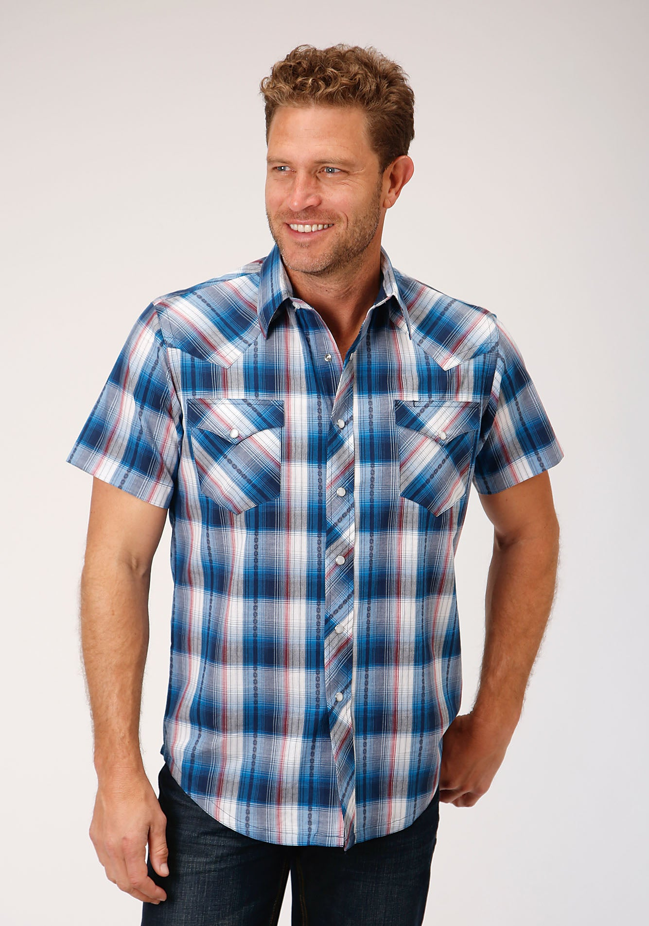 ROPER MENS BLUE 00079 ARROW DOBBY WEST MADE COLLECTION SHORT SLEEVE