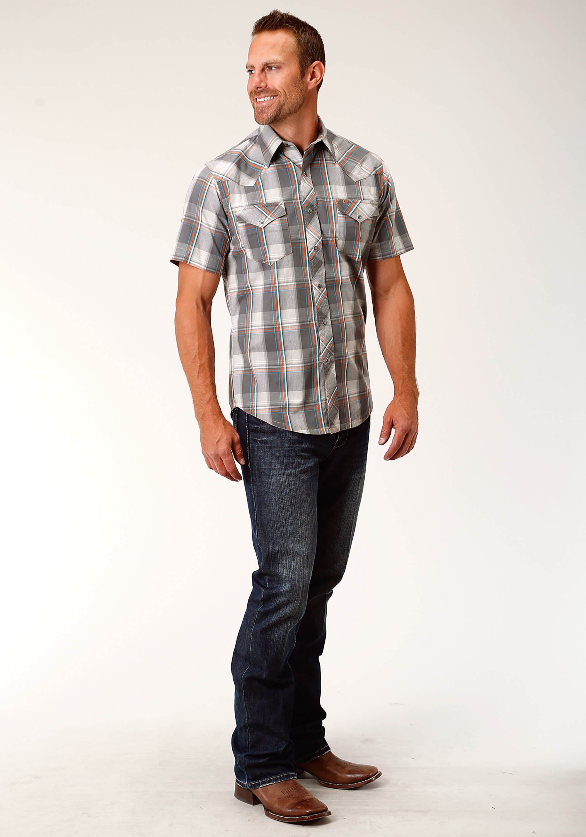 ROPER MENS GREY 3869 HAZY DAY PLAID WEST MADE COLLECTION SHORT SLEEVE