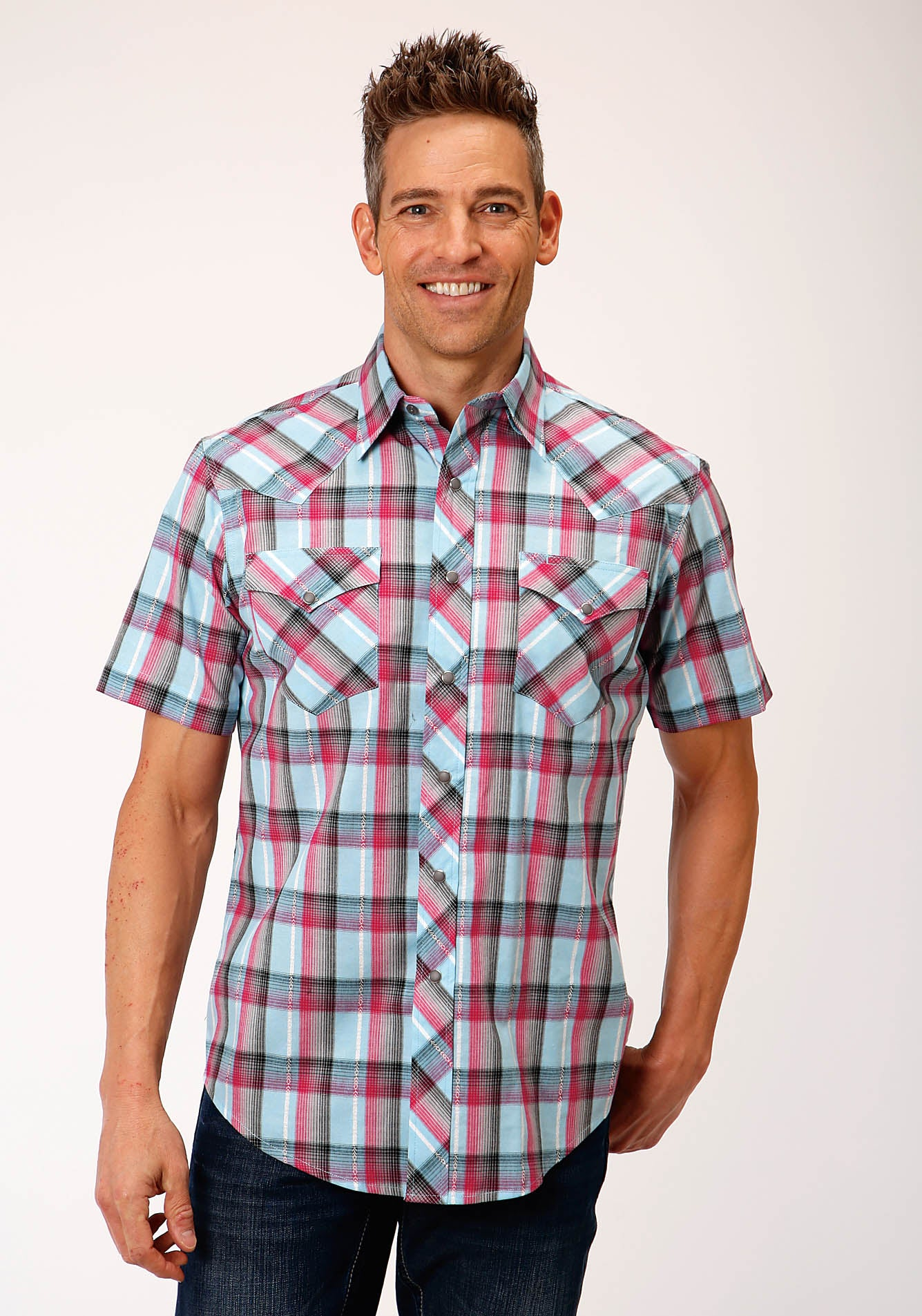 ROPER MENS BLUE 00187 CORAL DOBBY WEST MADE COLLECTION SHORT SLEEVE